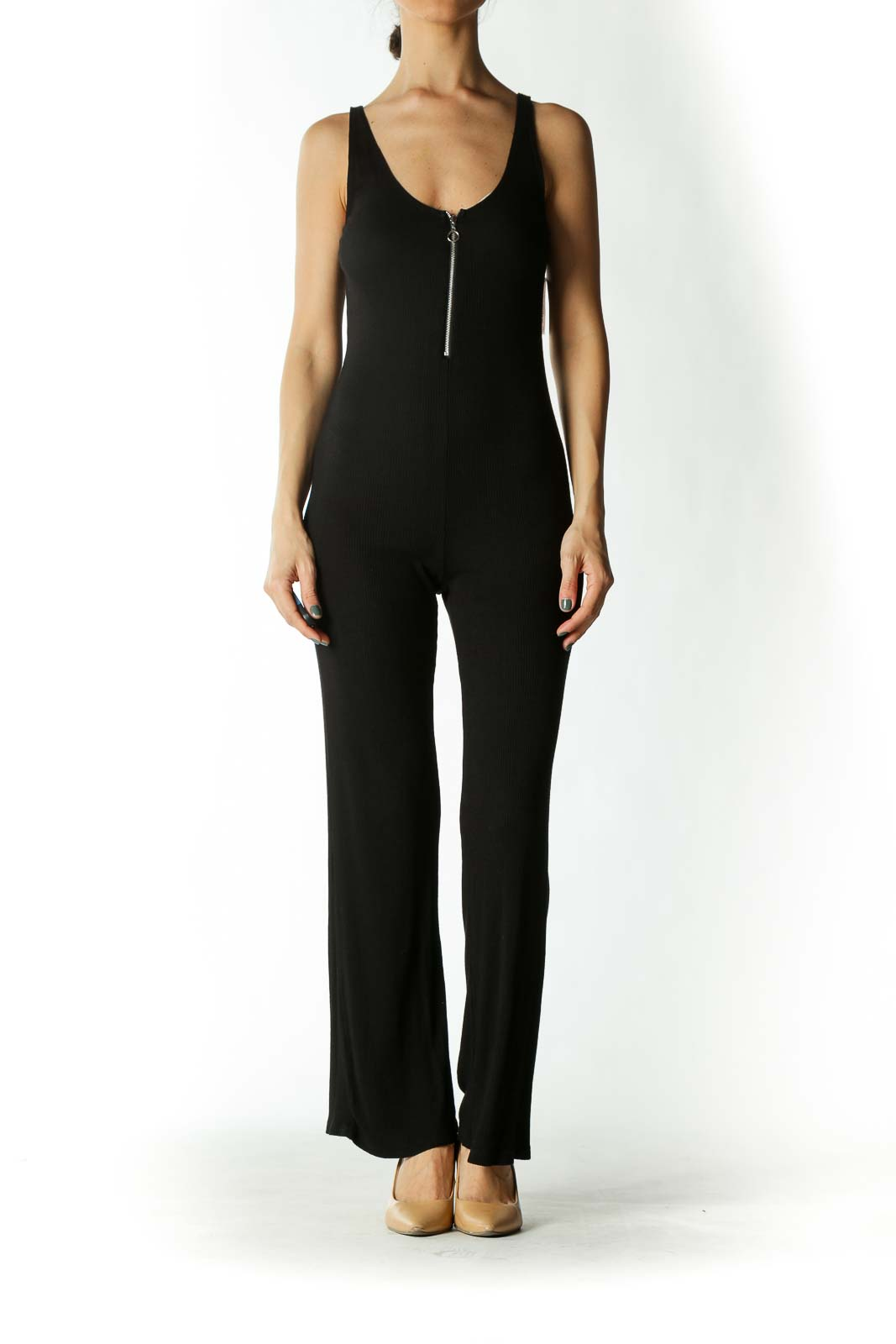 Black Sleeveless Zip-Up Fitted Jumpsuit