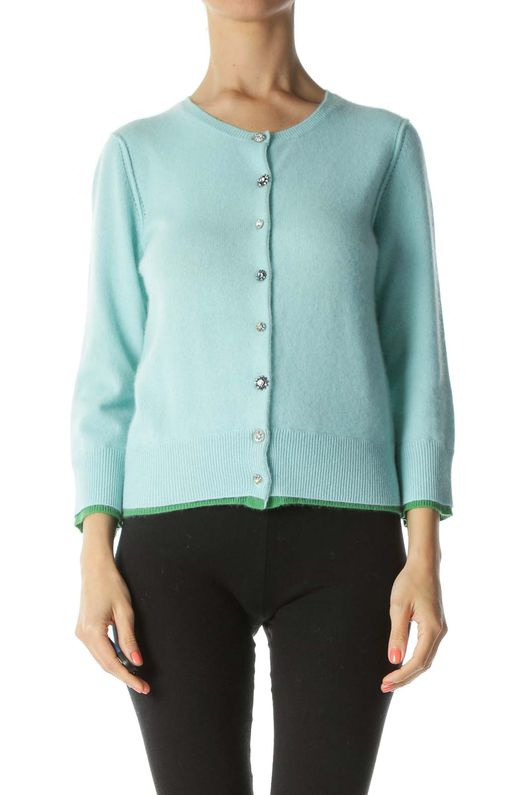 Light-Blue Green-Double-Applique 100% Cashmere Bejeweled-Buttons Sweater