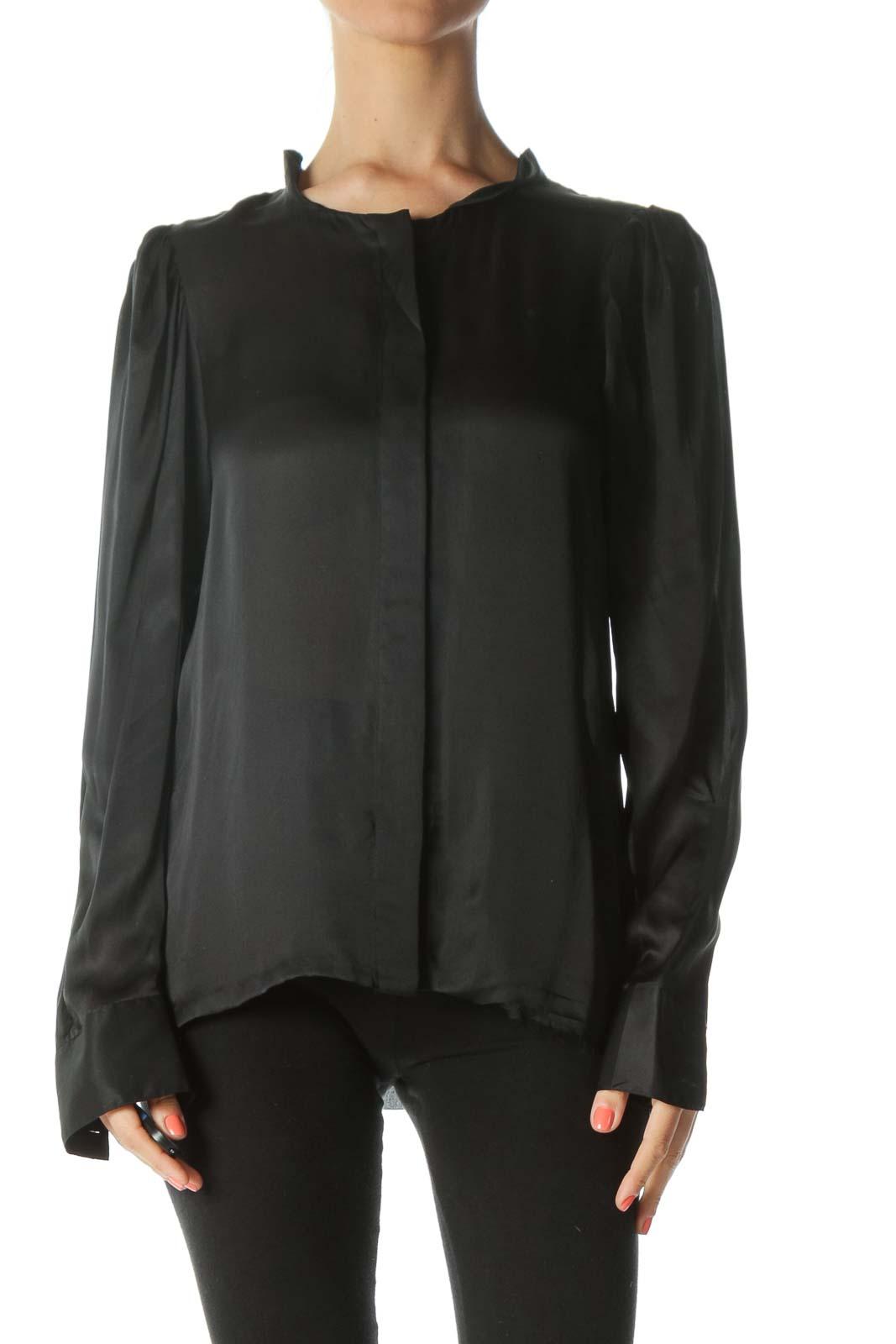 Black Long Sleeve Silk Blouse
