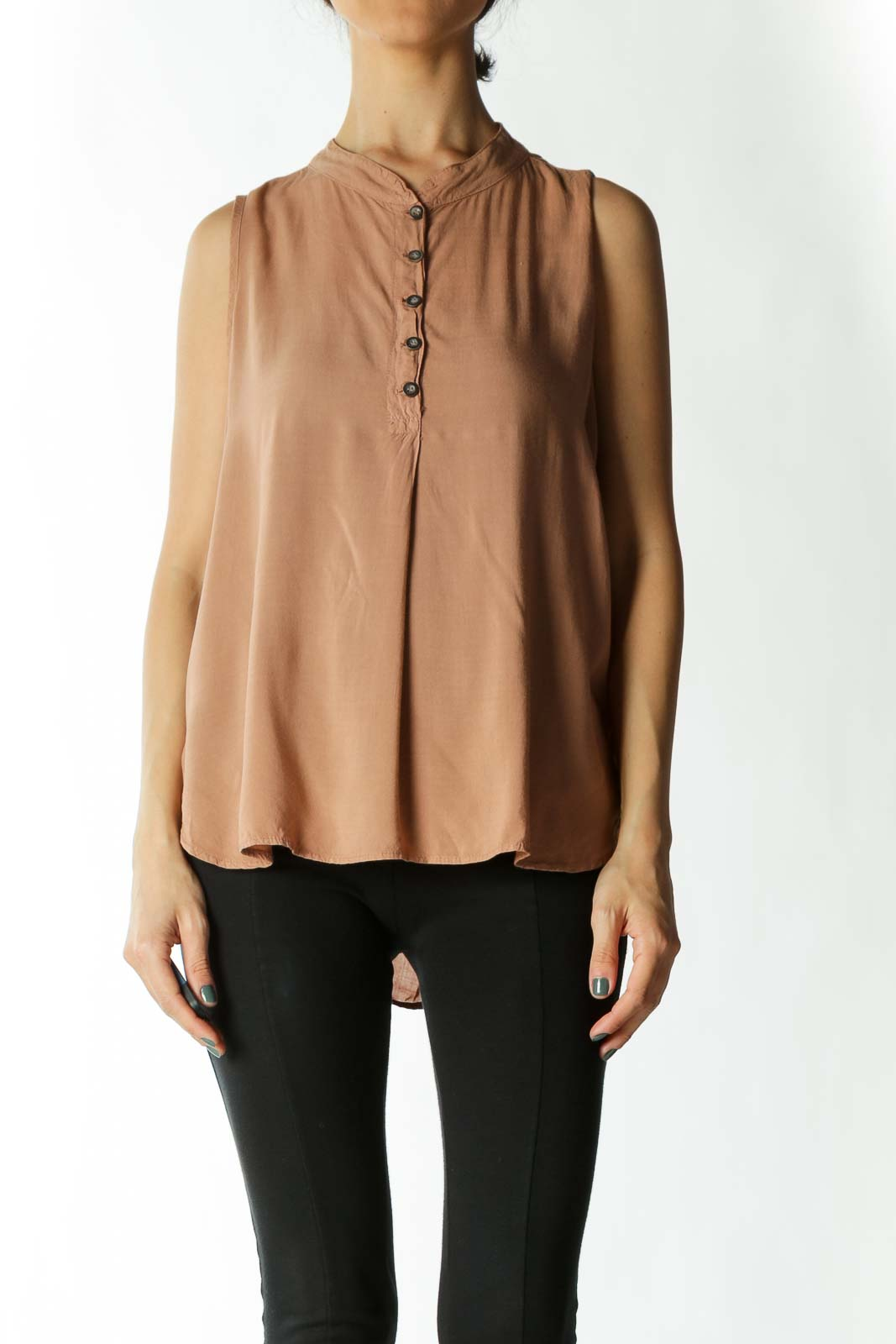 Tan Sleeveless Button-Down Mandarin-Collar Blouse