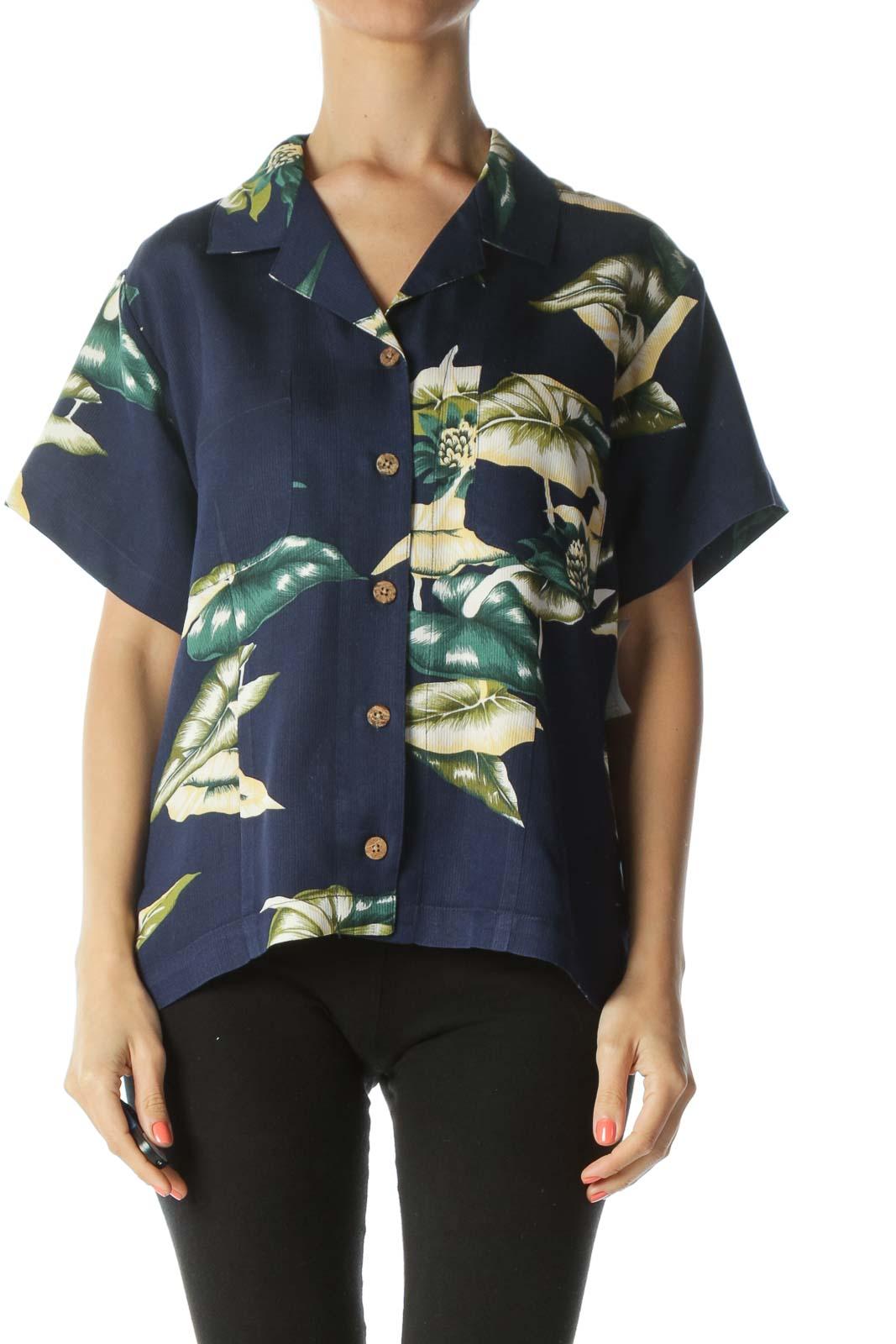 Blue/Yellow/Green 100% Silk Floral-Print Buttoned T-Shirt
