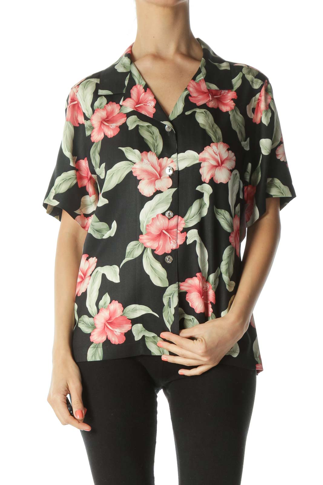 Black/Green/Pink 100% Silk Floral-Print Buttoned T-Shirt