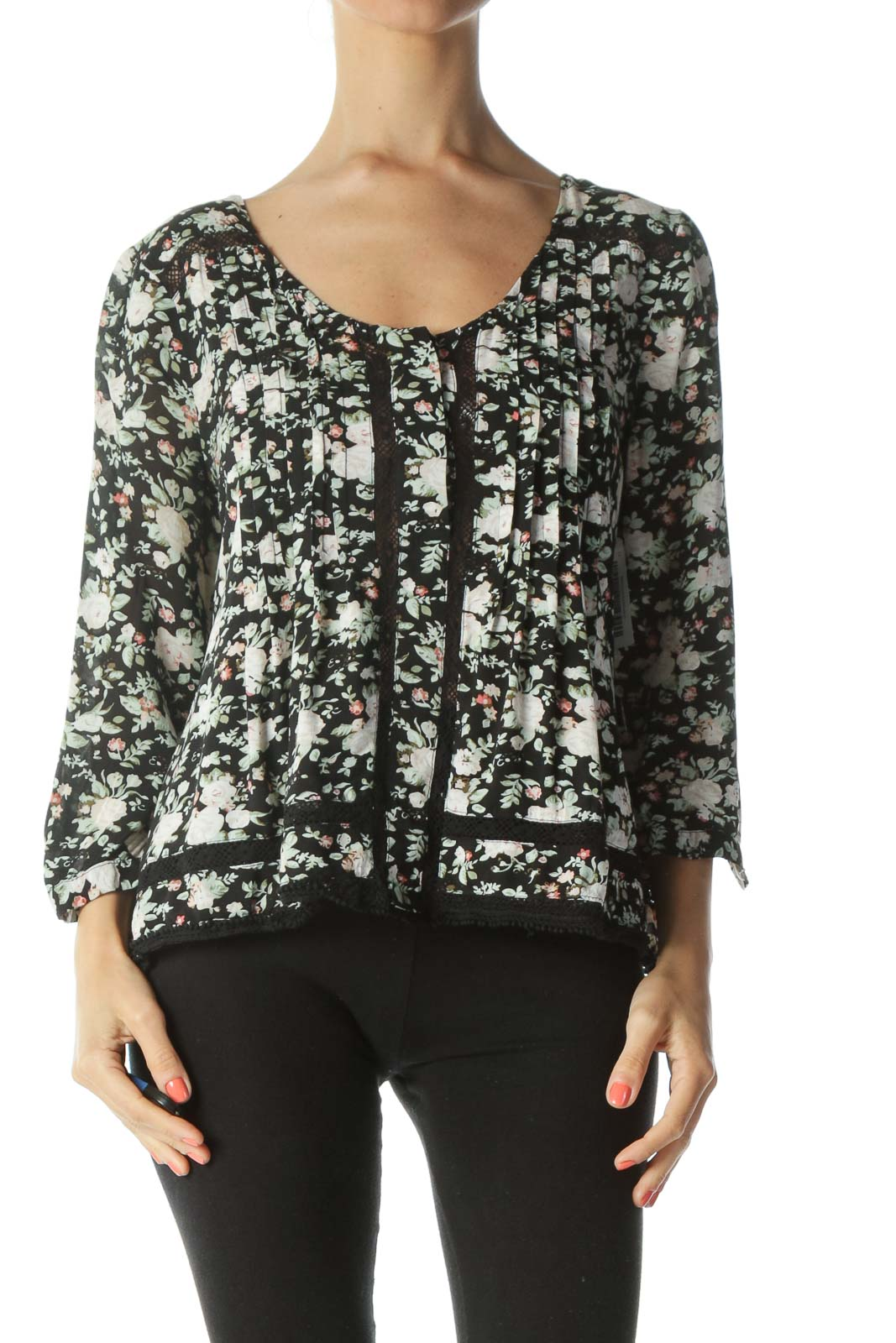 Black/Green/Pink Floral-Print See-Through-Knit Flared Blouse
