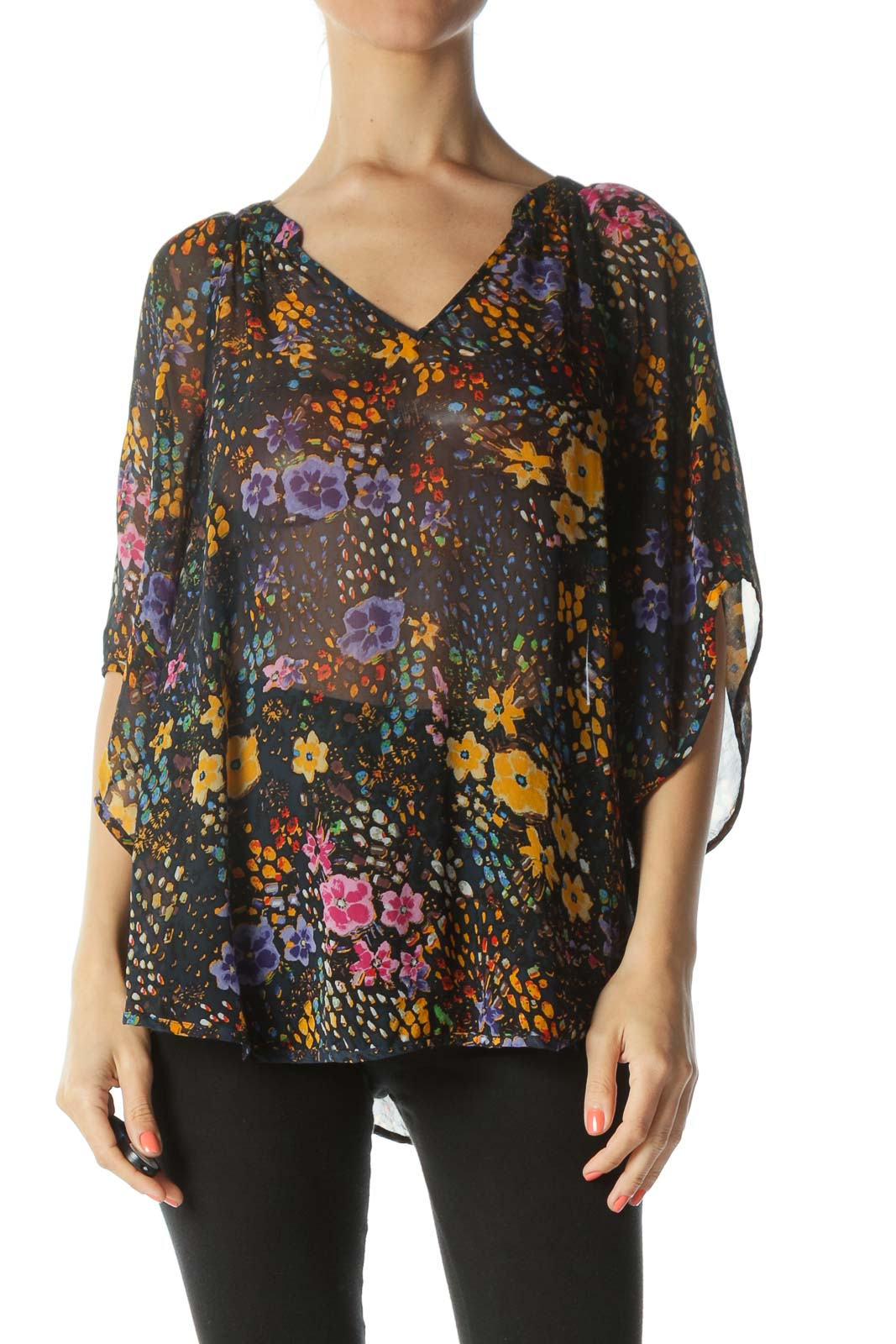 Multicolored 100% Silk Floral-Print See-Through Blouse