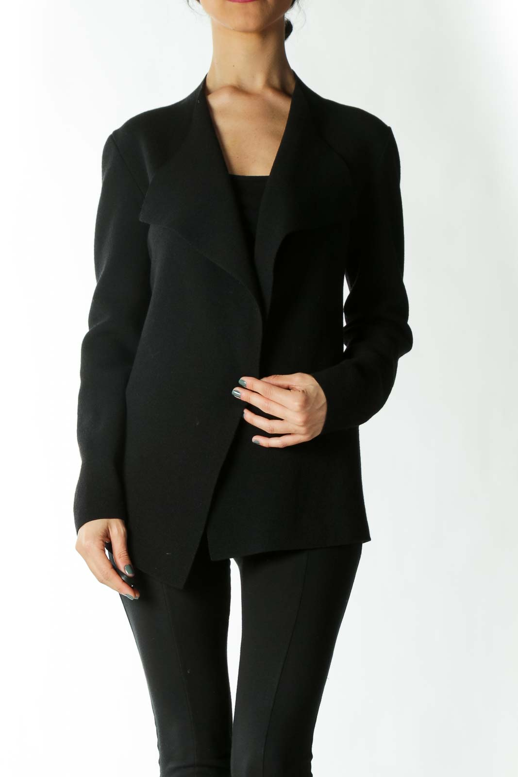 Black 100% Wool Cardigan