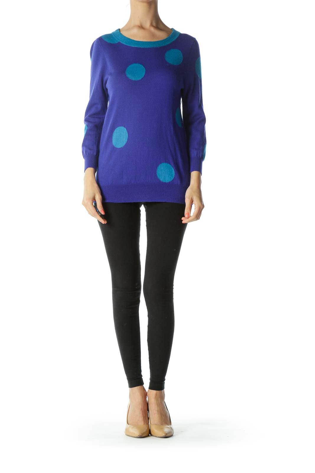 Blue 100% Merino Wool Knit Polka-Dot Pullover Sweater