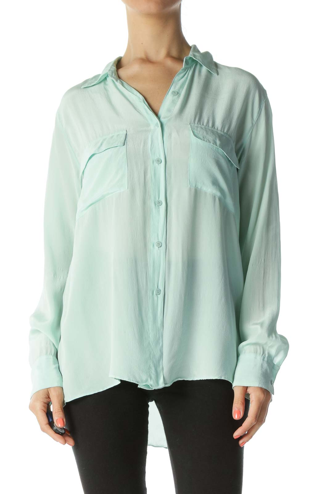 Mint Green Silk Blouse