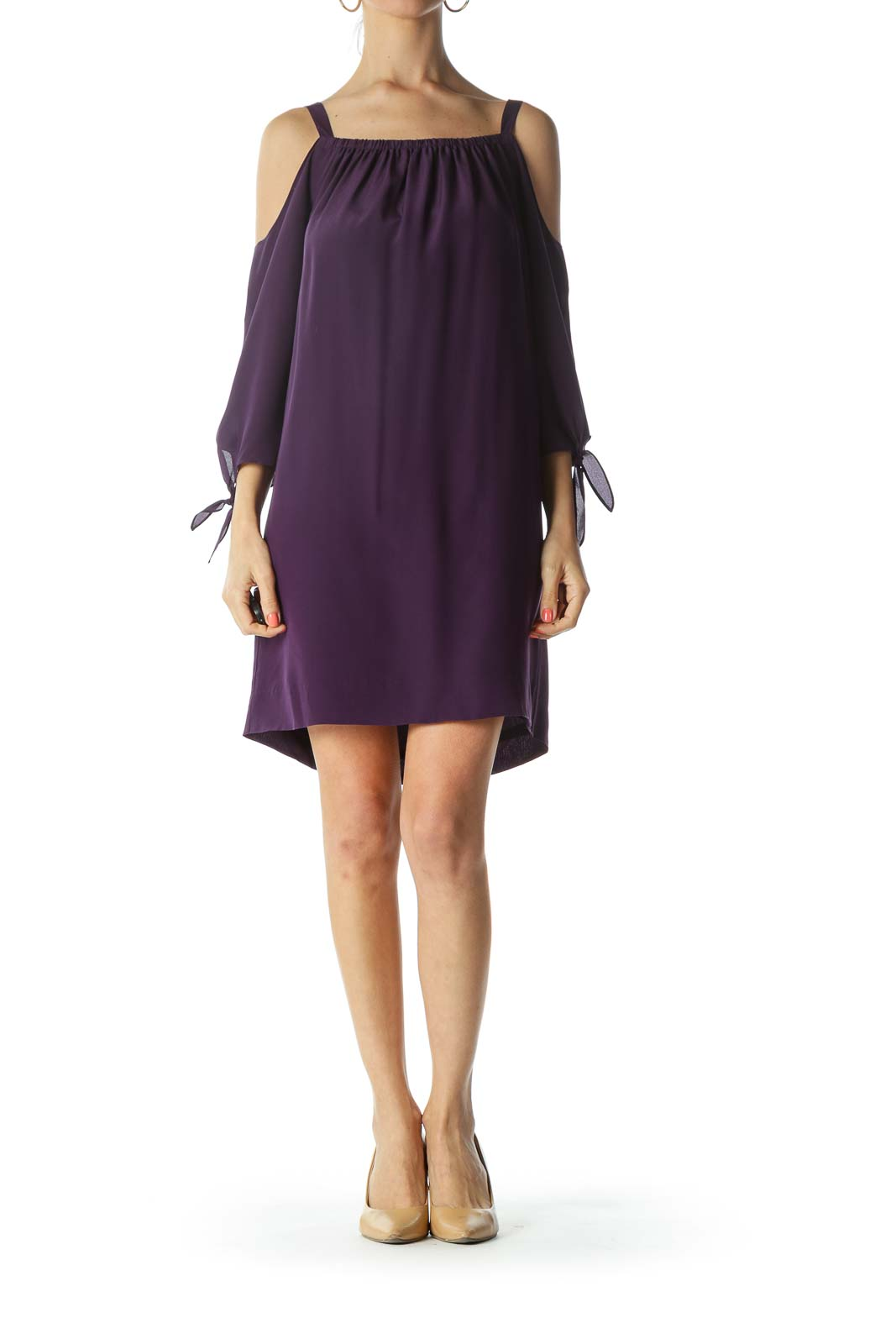Purple Cold Shoulder Dress