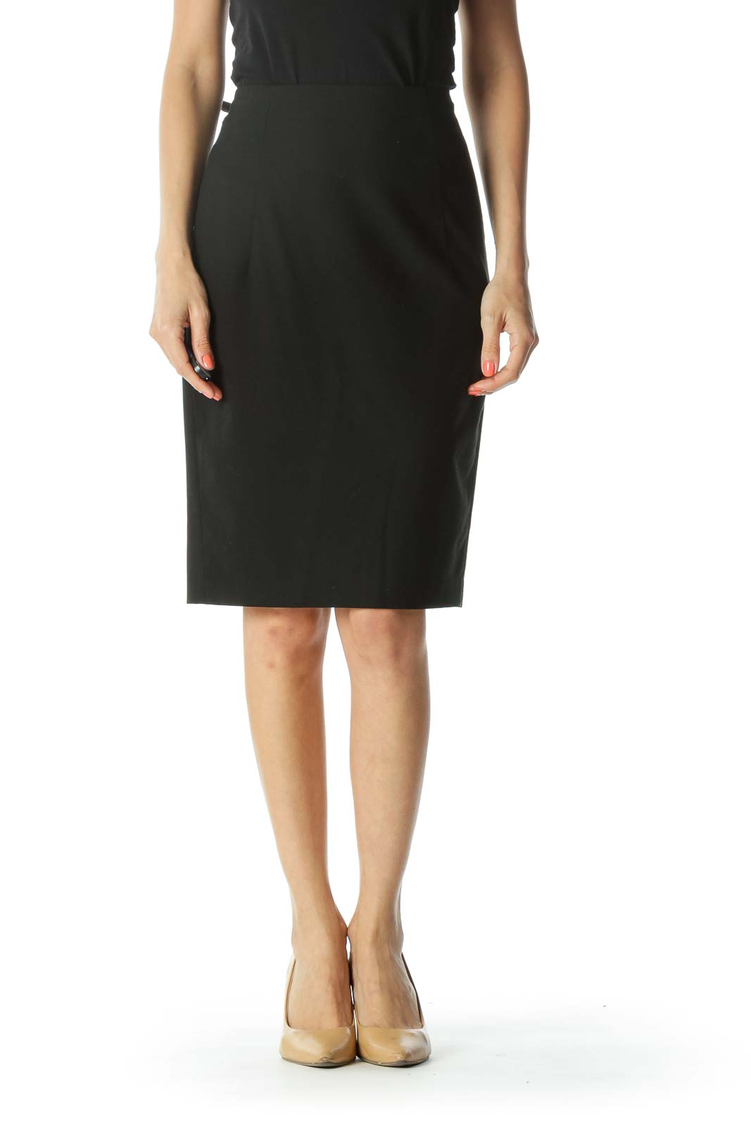 Black Back-Visible-Zipper-Detail Leg-Slit Pencil Skirt