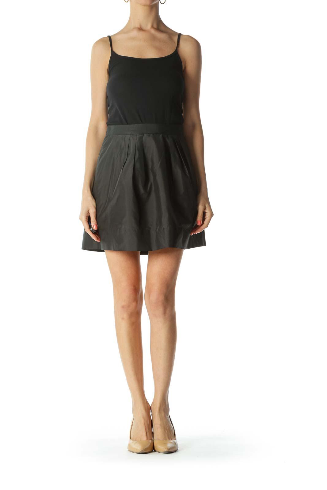 Black Silk-Blend Inside-Tulle Pocketed Pouf Mini Skirt