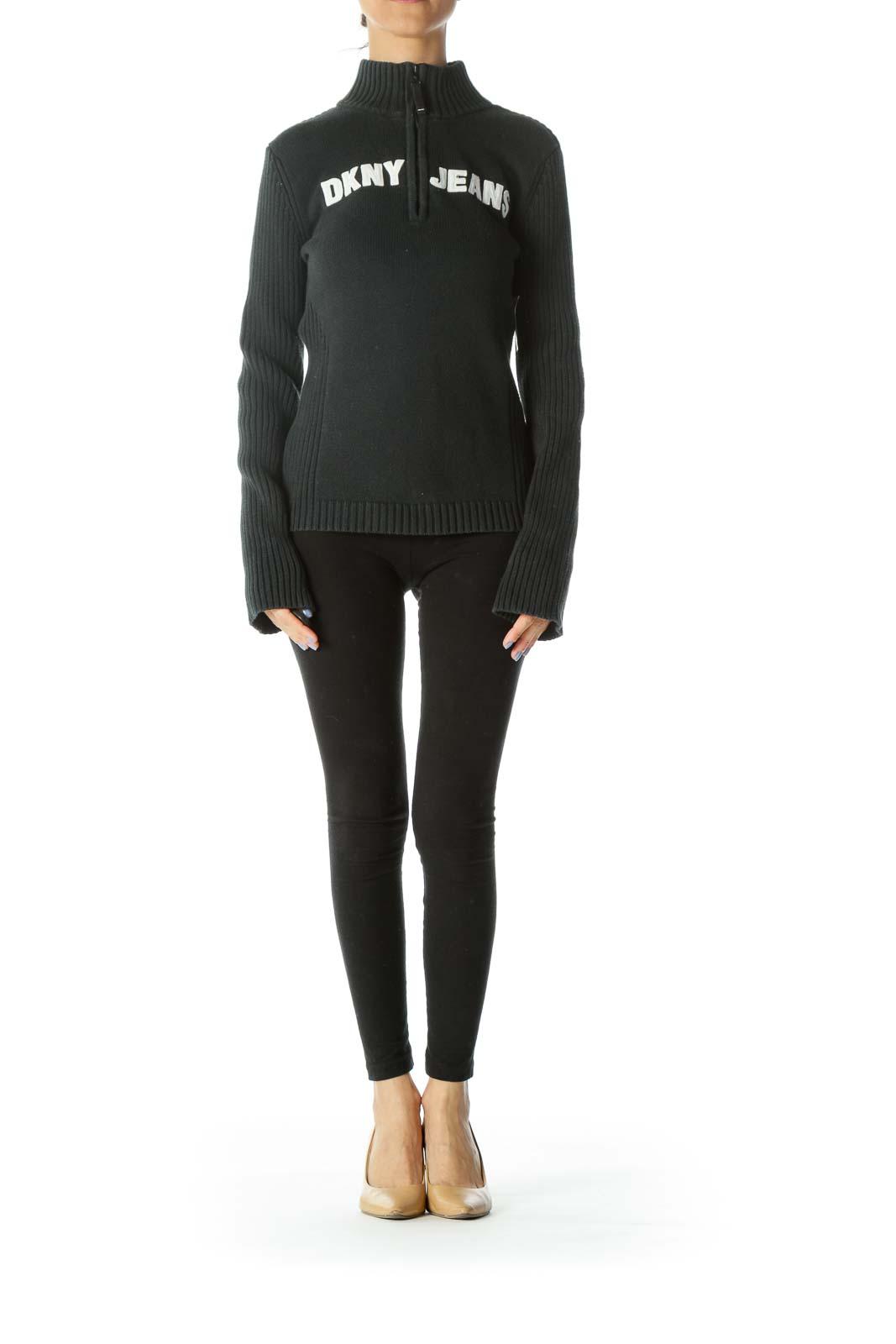Black High-Neck Zippered Sweater