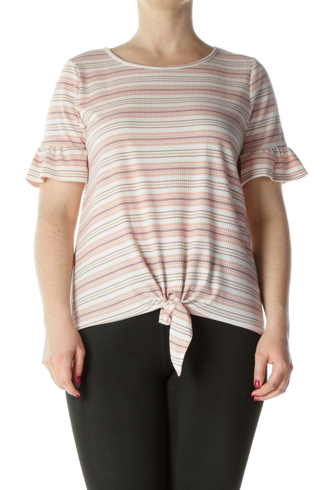 White/Purple/Pink Striped Ruffled Tie-Front Ribbed Top