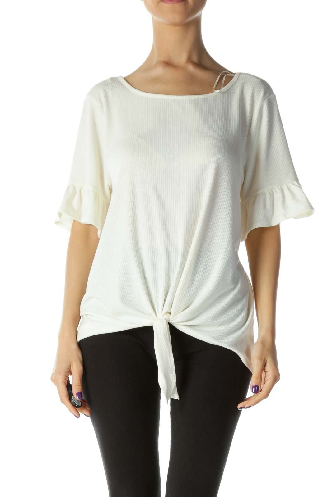 Cream Flared-Sleeves Ribbed Tie-Front Top