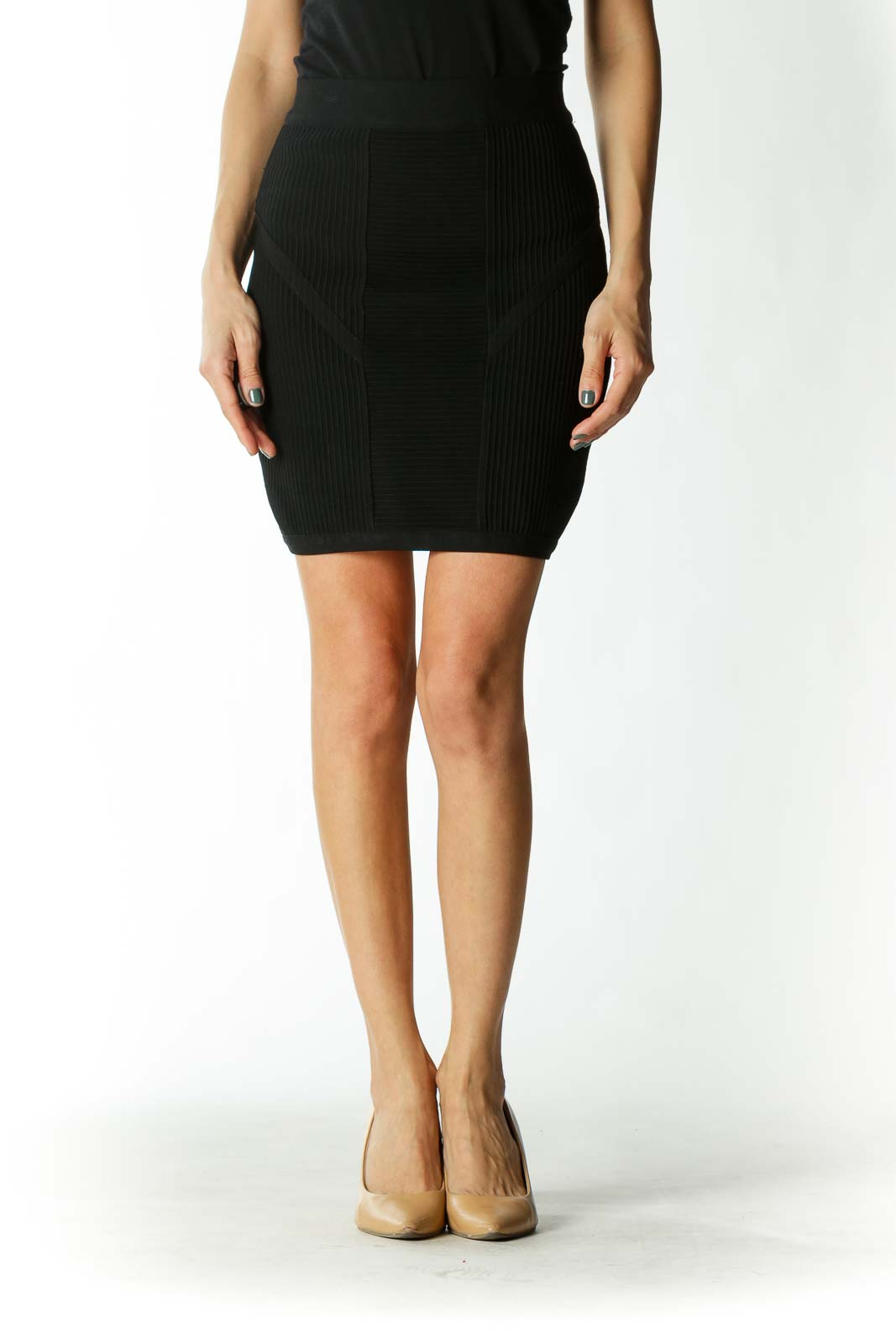 Black Cross-Ribbed Body-Con Mini Skirt