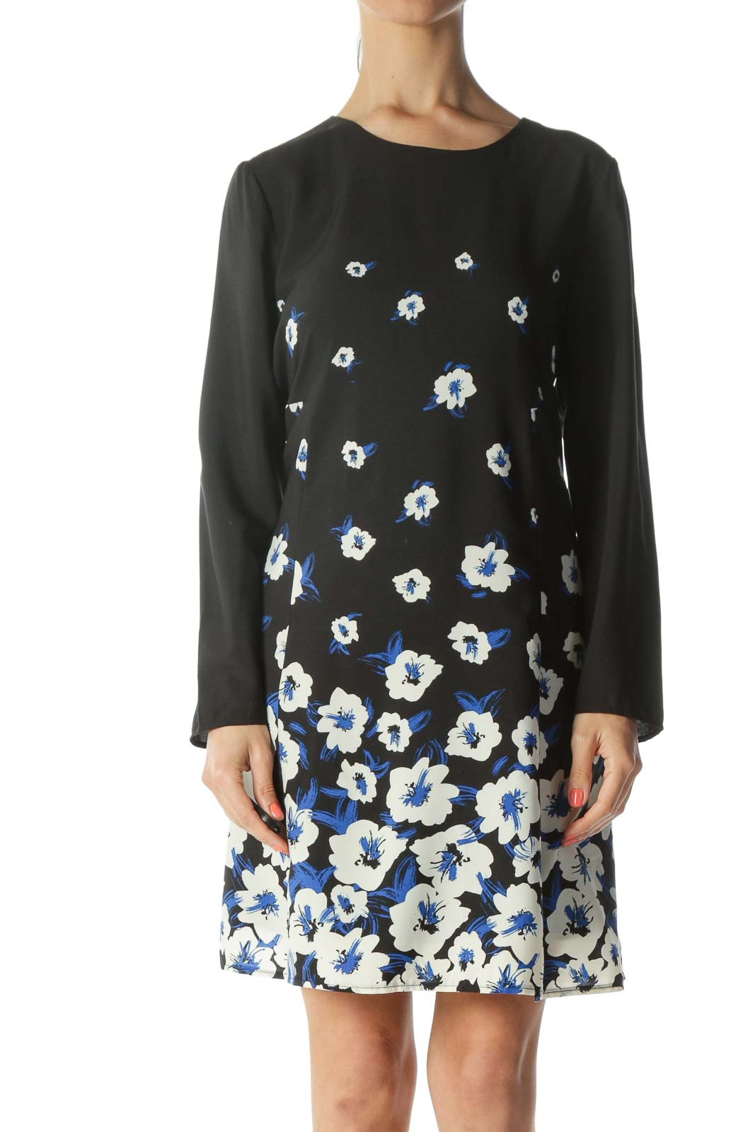 Black/Blue/White Floral-Print Keyhole-Back Work Dress