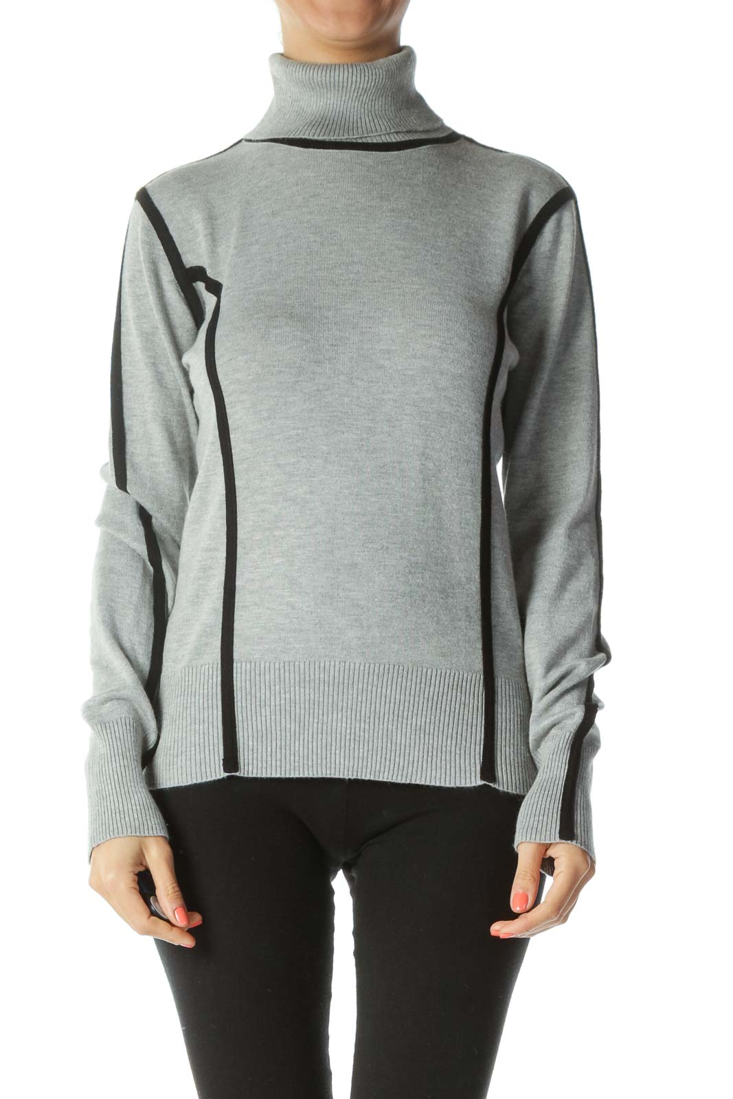 Black/Gray Turtle-Neck Contrasting-Piping Sweater