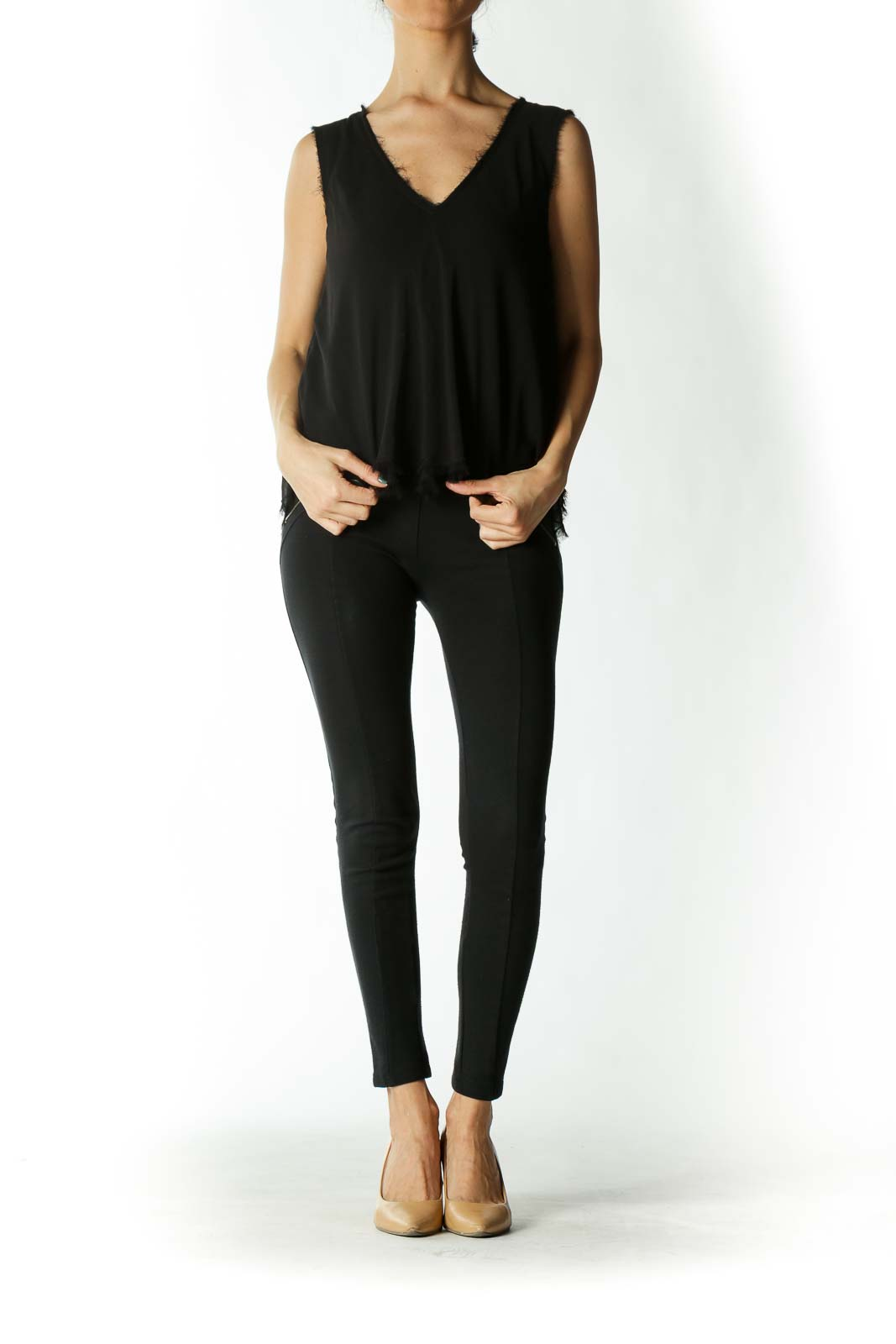 Black Distressed-Hem Sleeveless V-Neck Blouse