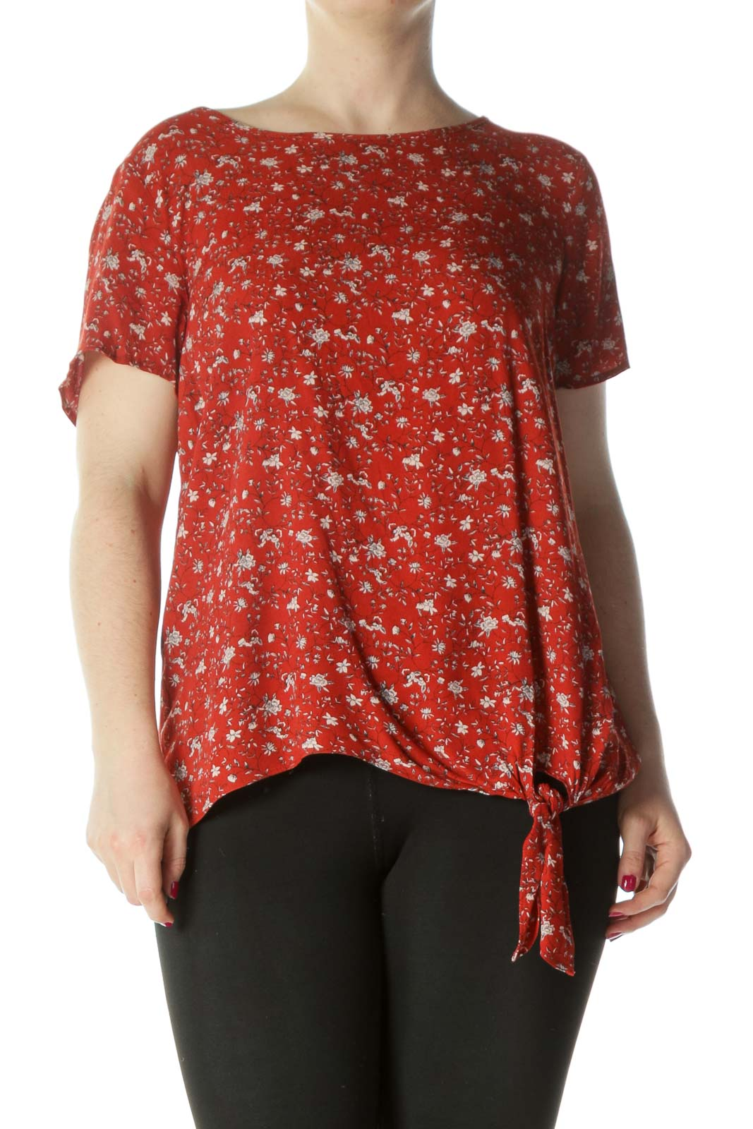 Orange/Cream Floral-Print Tie-Front Flared Top44