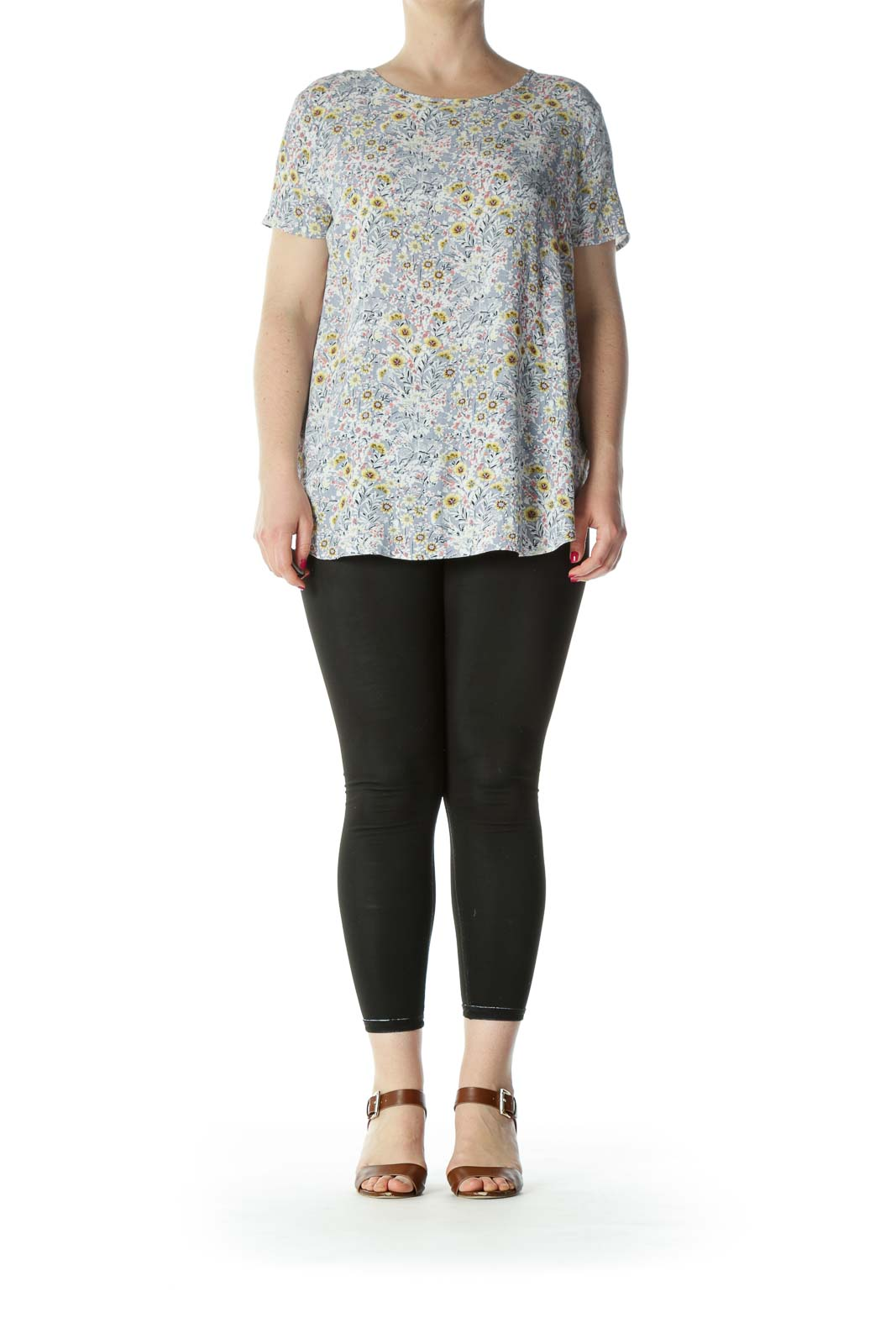 Gray/White/Yellow Floral-Print Keyhole-Back Flared Top