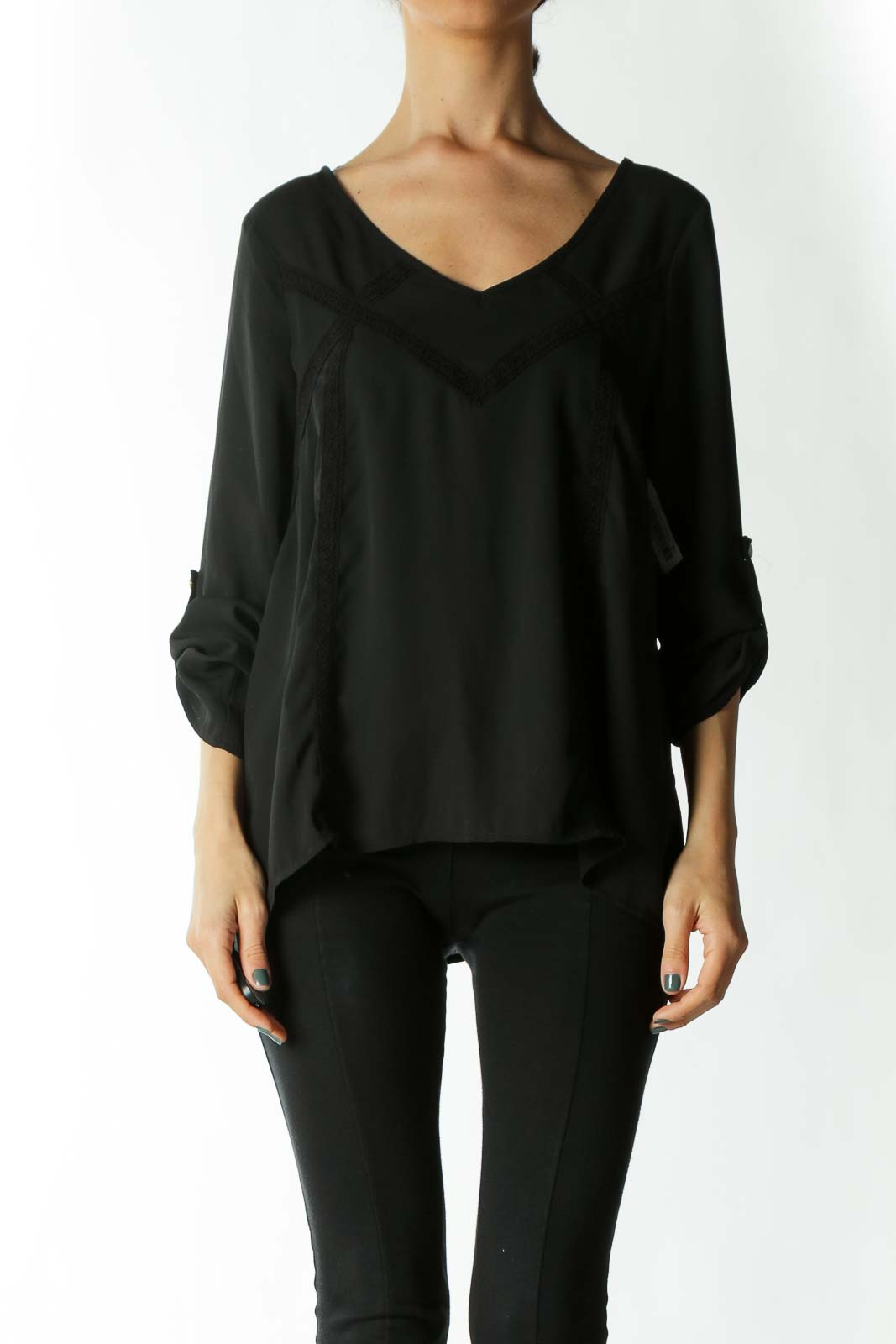 Black Translucent Lace-Detailing Back-Strap Long-Sleeve Blouse