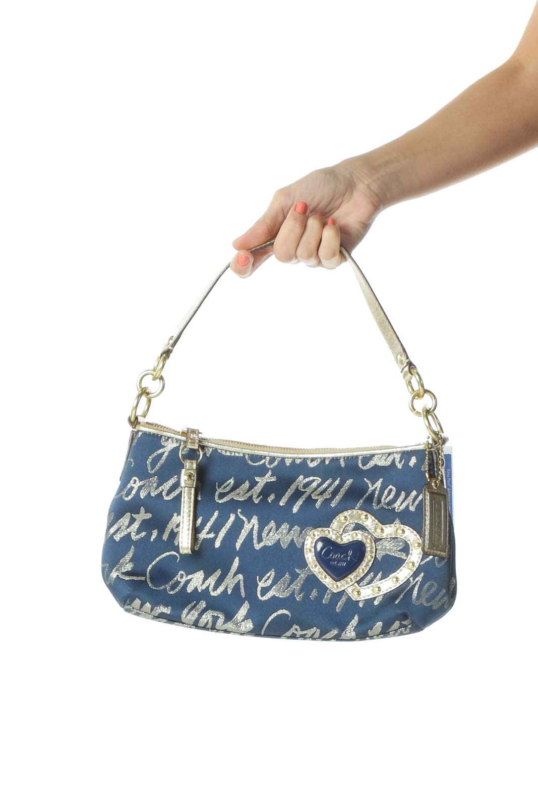 Blue Gold Patterned Shoulder Bag