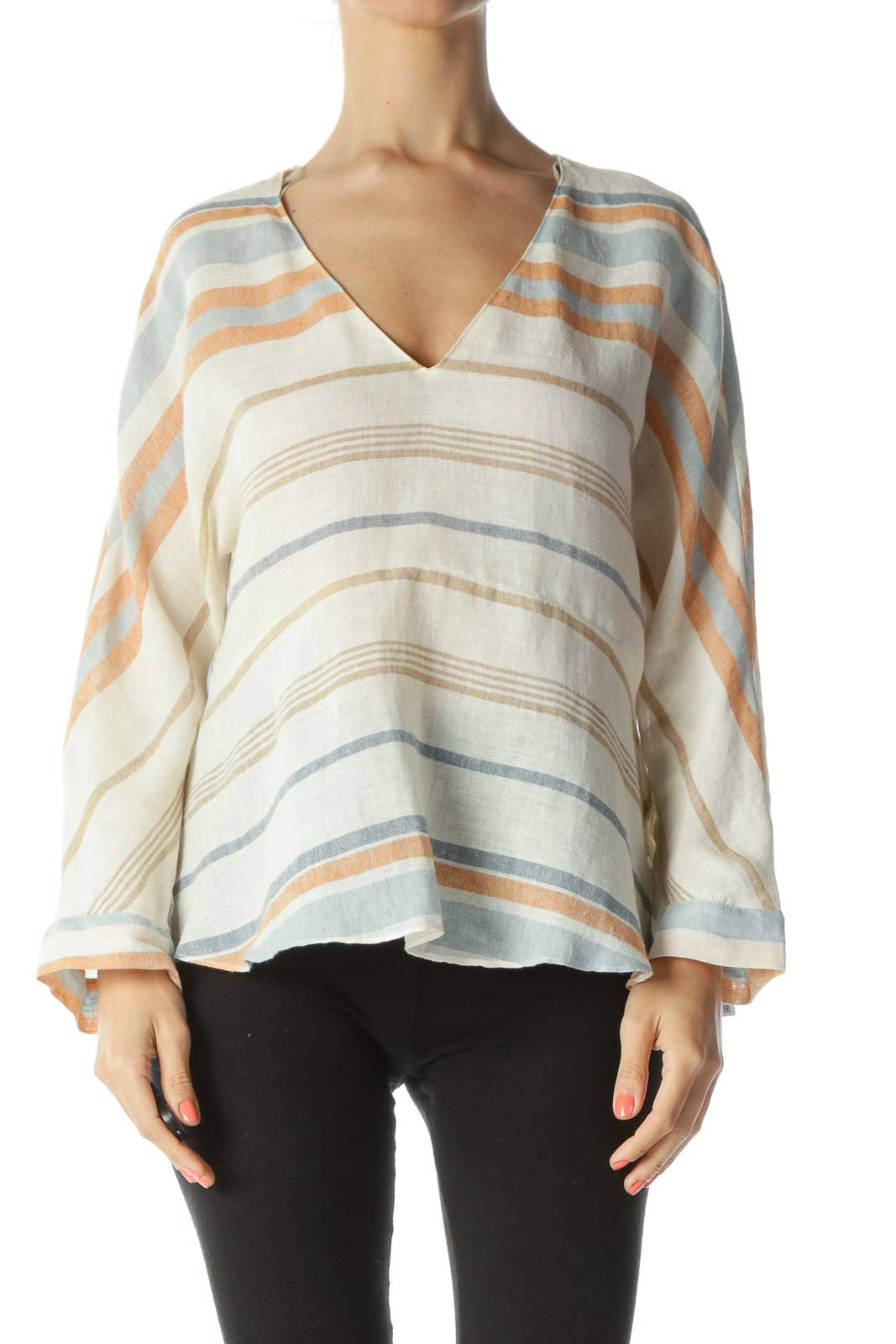 Blue/Cream/Orange Linen and Cotton Striped See-Through Top