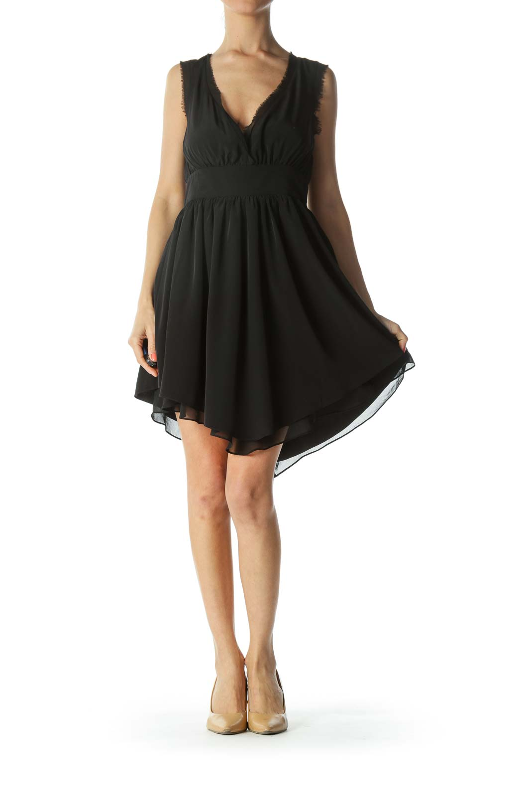 Black V-Neck Raw-Hem Cinched-Waist Flared Cocktail Dress