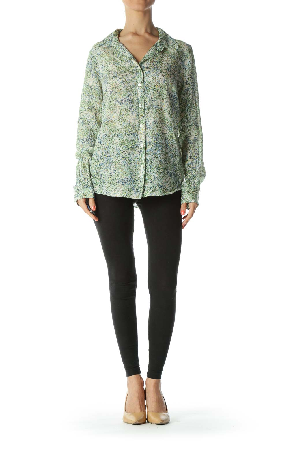 Blue/Green/Yellow Floral-Print Buttoned Long-Sleeve Shirt