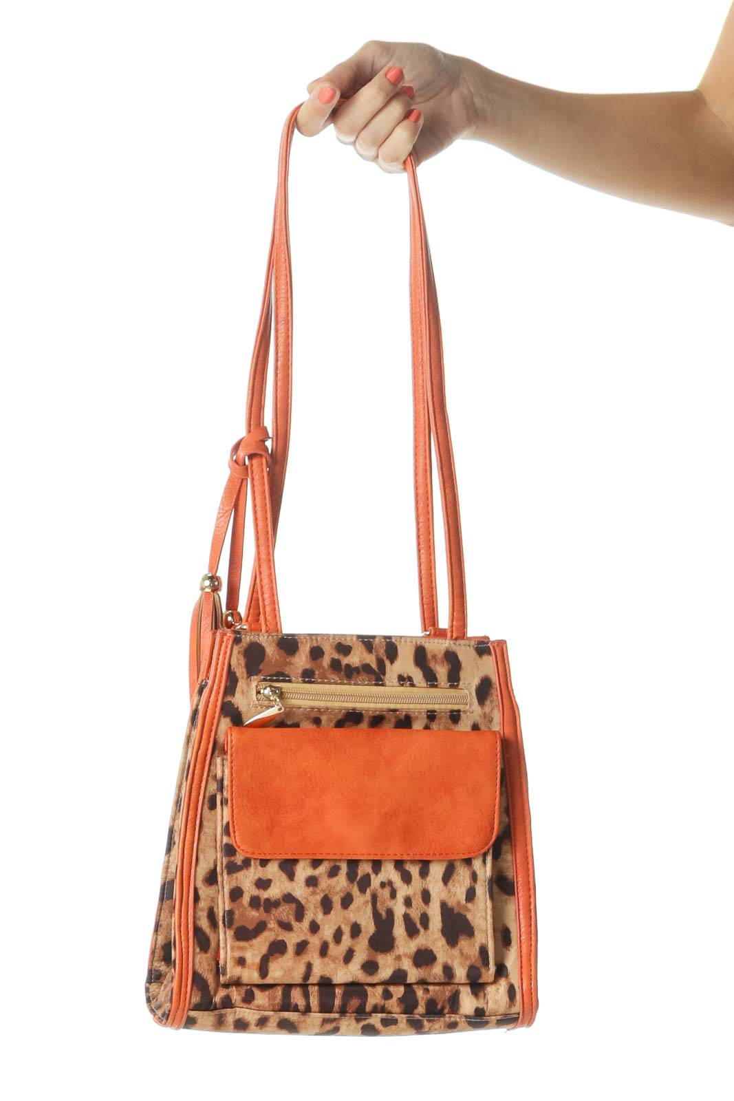 Orange Animal Print Zipped Backpack