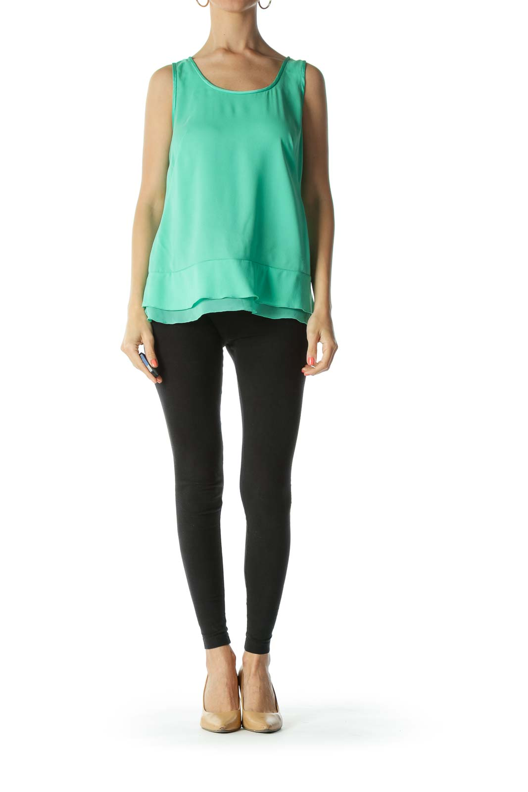 Green Round-Neck Flared-Detail Tank Top