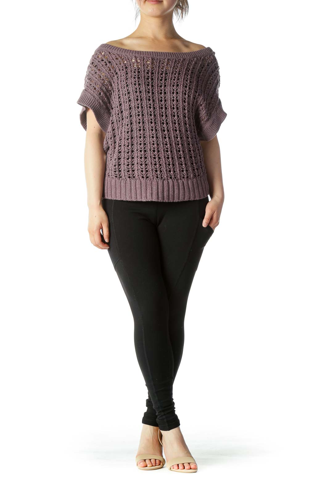 Purple Crop Knit Top