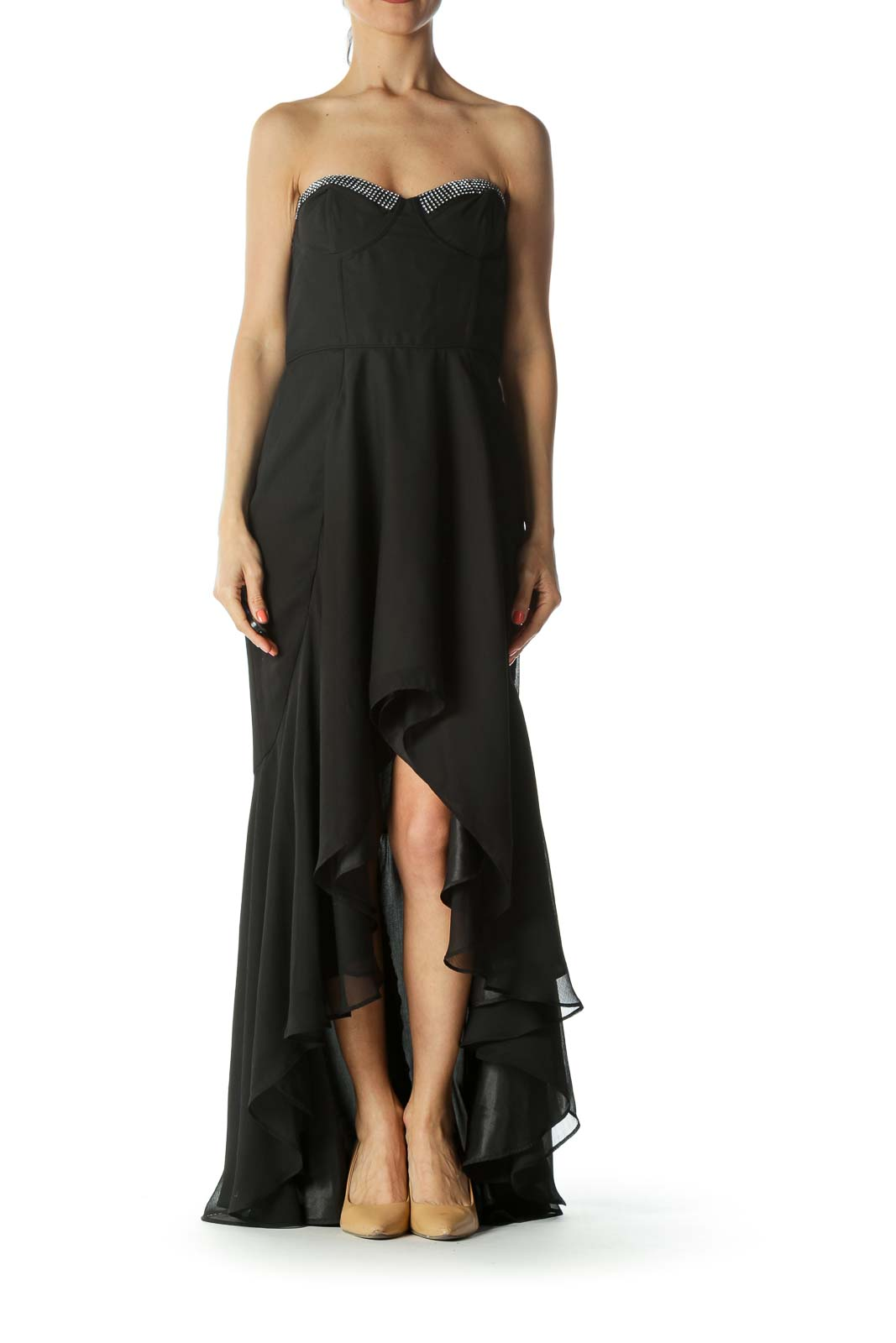 Black Rhinestones-Sweetheart-Neckline Inside-Upper-Body-Structure Dress