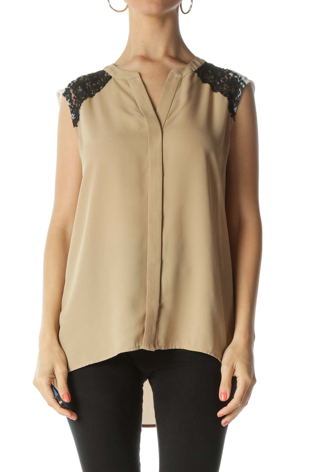 Beige/Black/White Lace-Applique Buttoned Tank Top
