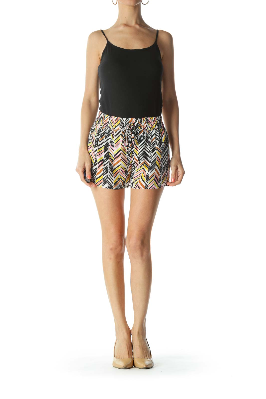 Pink/White/Black/Orange Geometric-Print Shorts