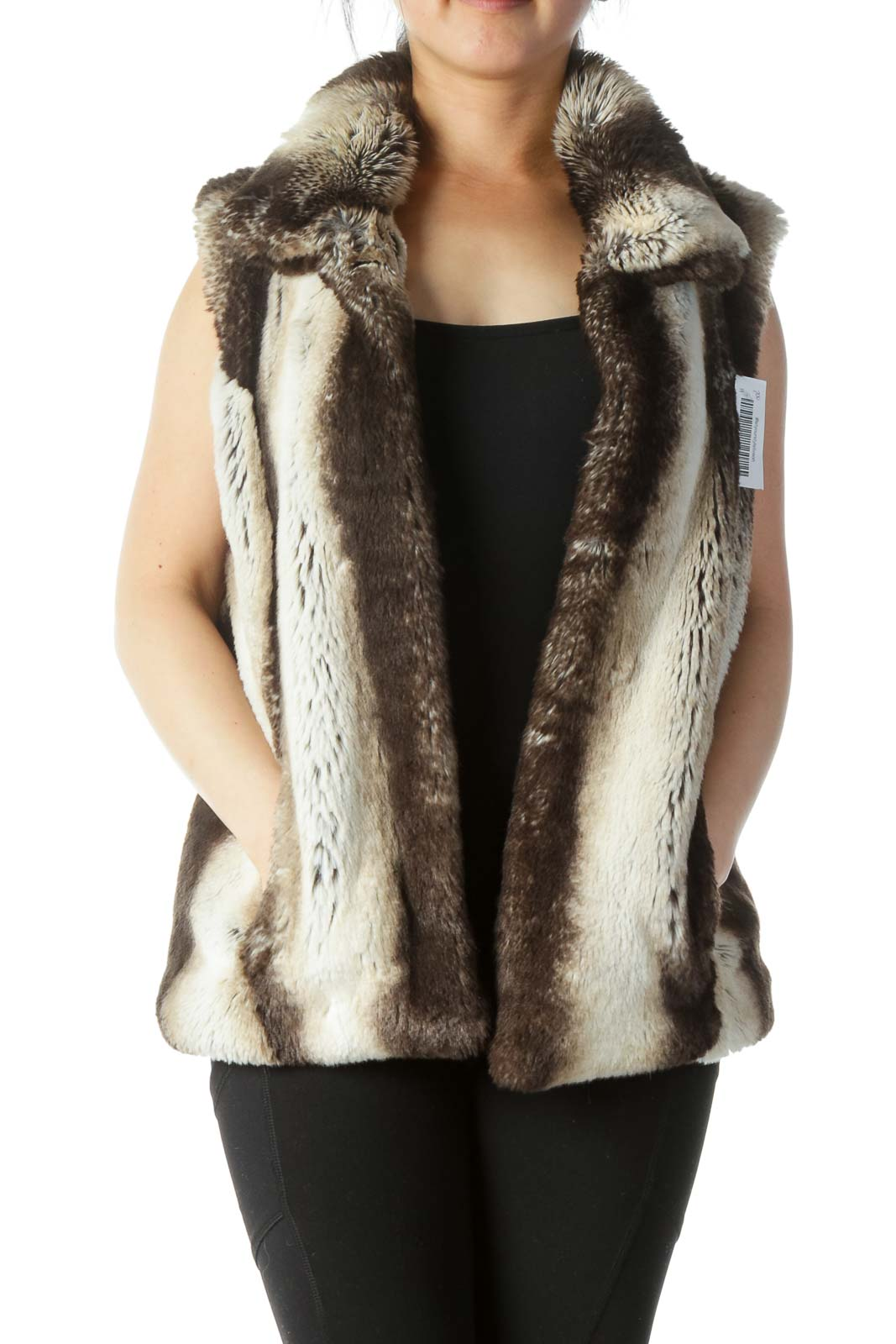 Beige, Brown and Black Faux Fur Vest
