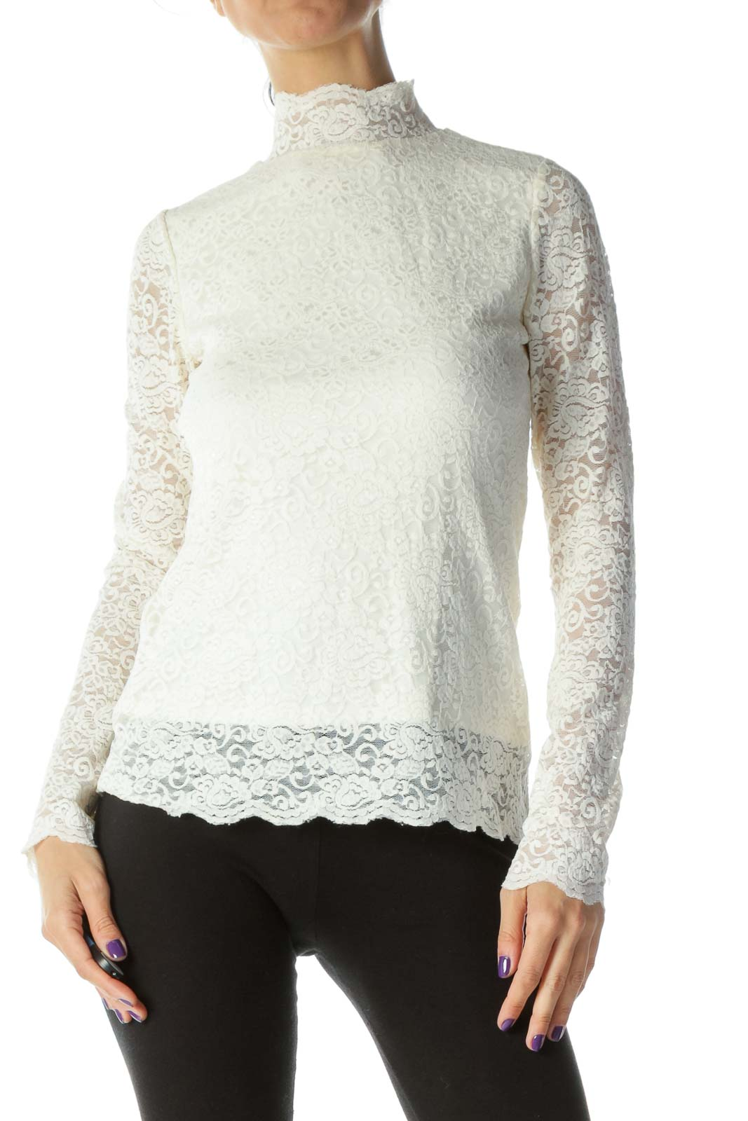White Mock Neck Lace Long Sleeve Top