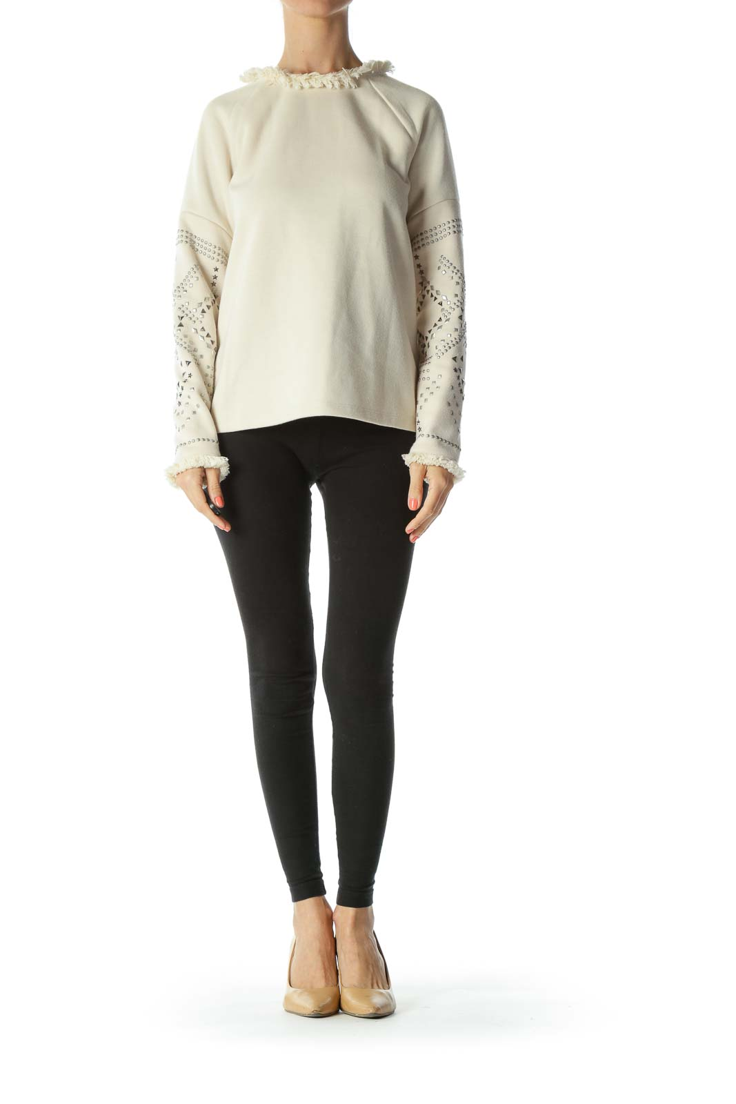 Cream Fringed-Neckline Bejewel-Sleeved Long-Sleeve Sweater