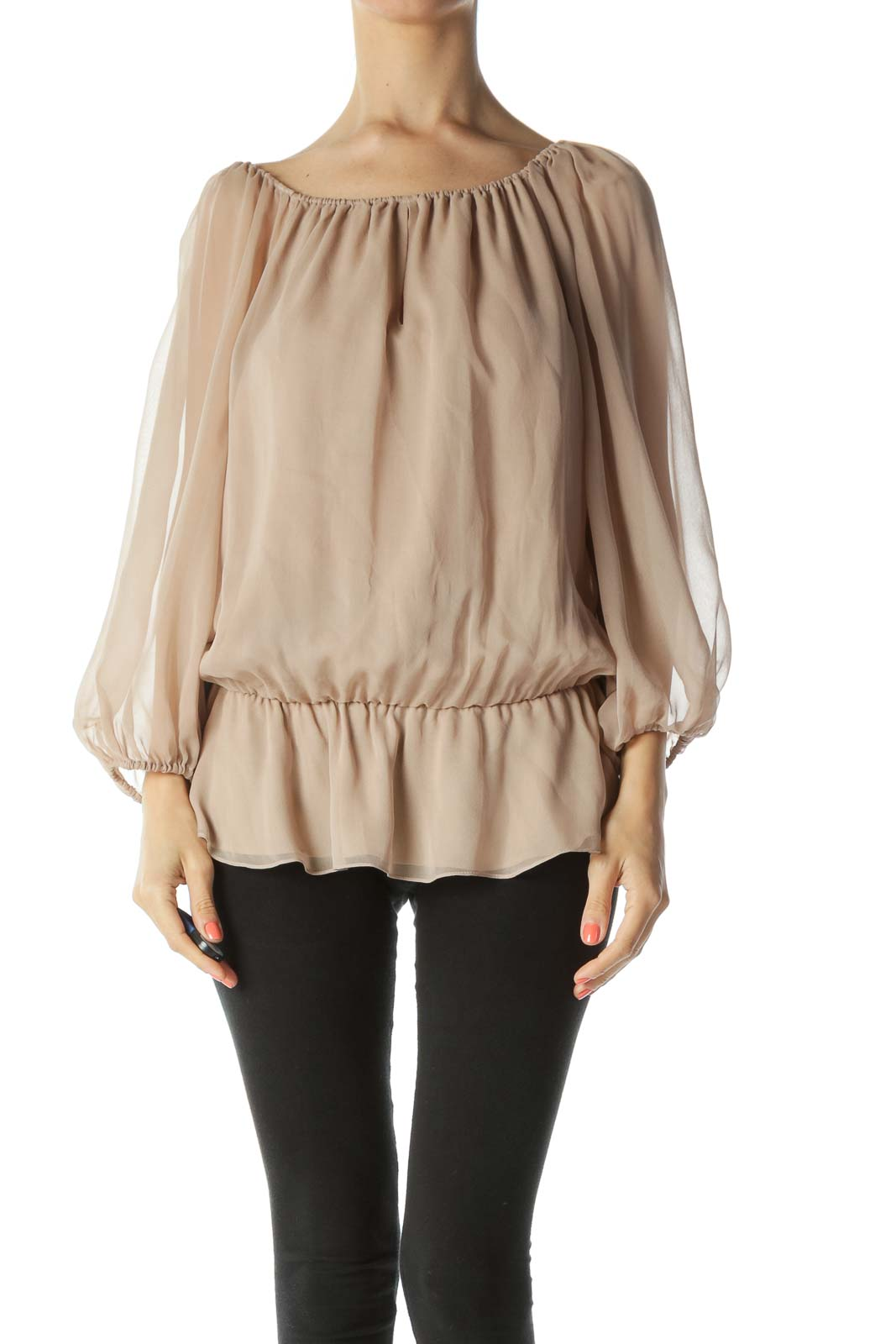 Beige Off-The-Shoulder Peasant-Sleeve Cinched-Waist Blouse