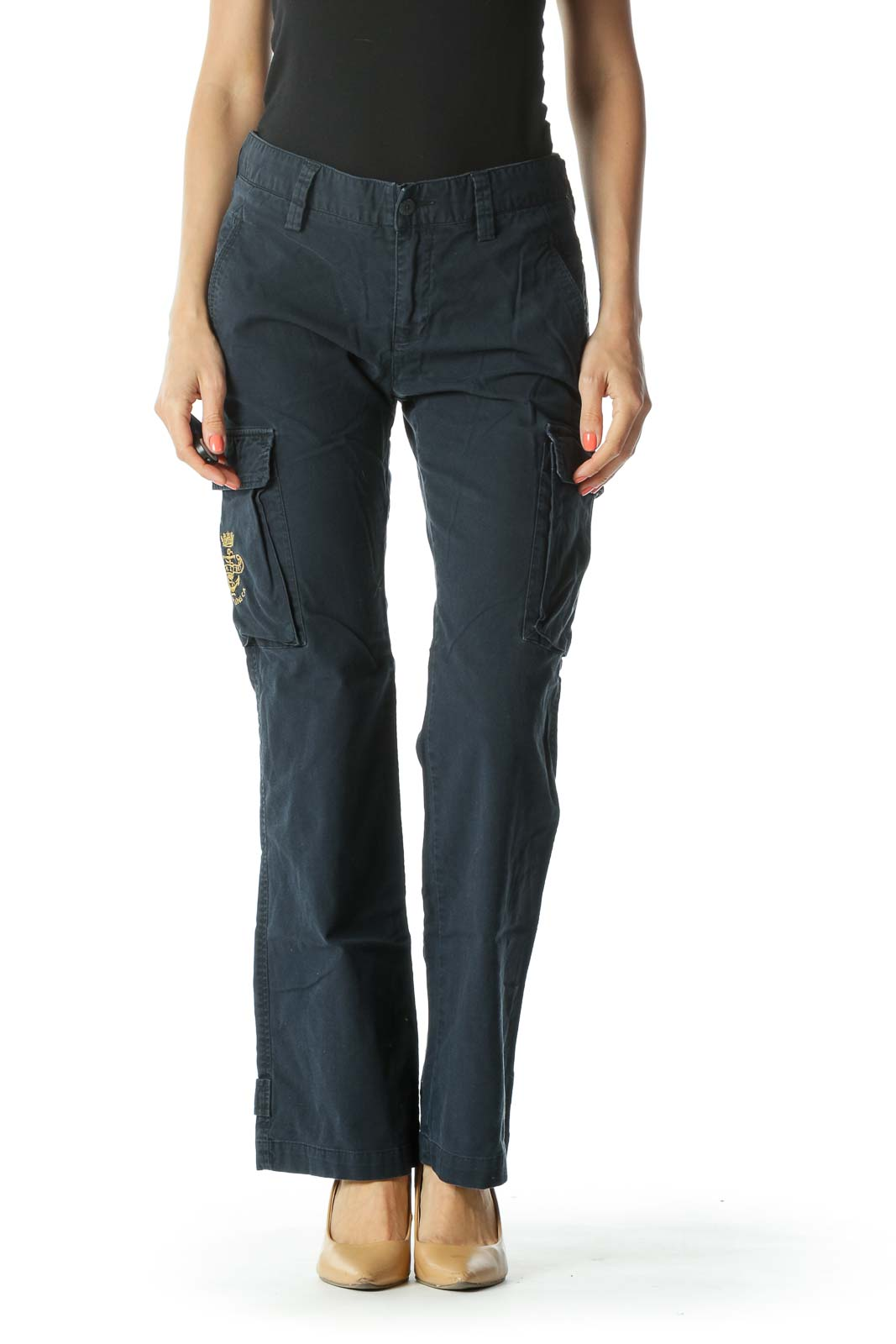 Navy Cargo Pants with Leg Pockets and Gold Embroiderey