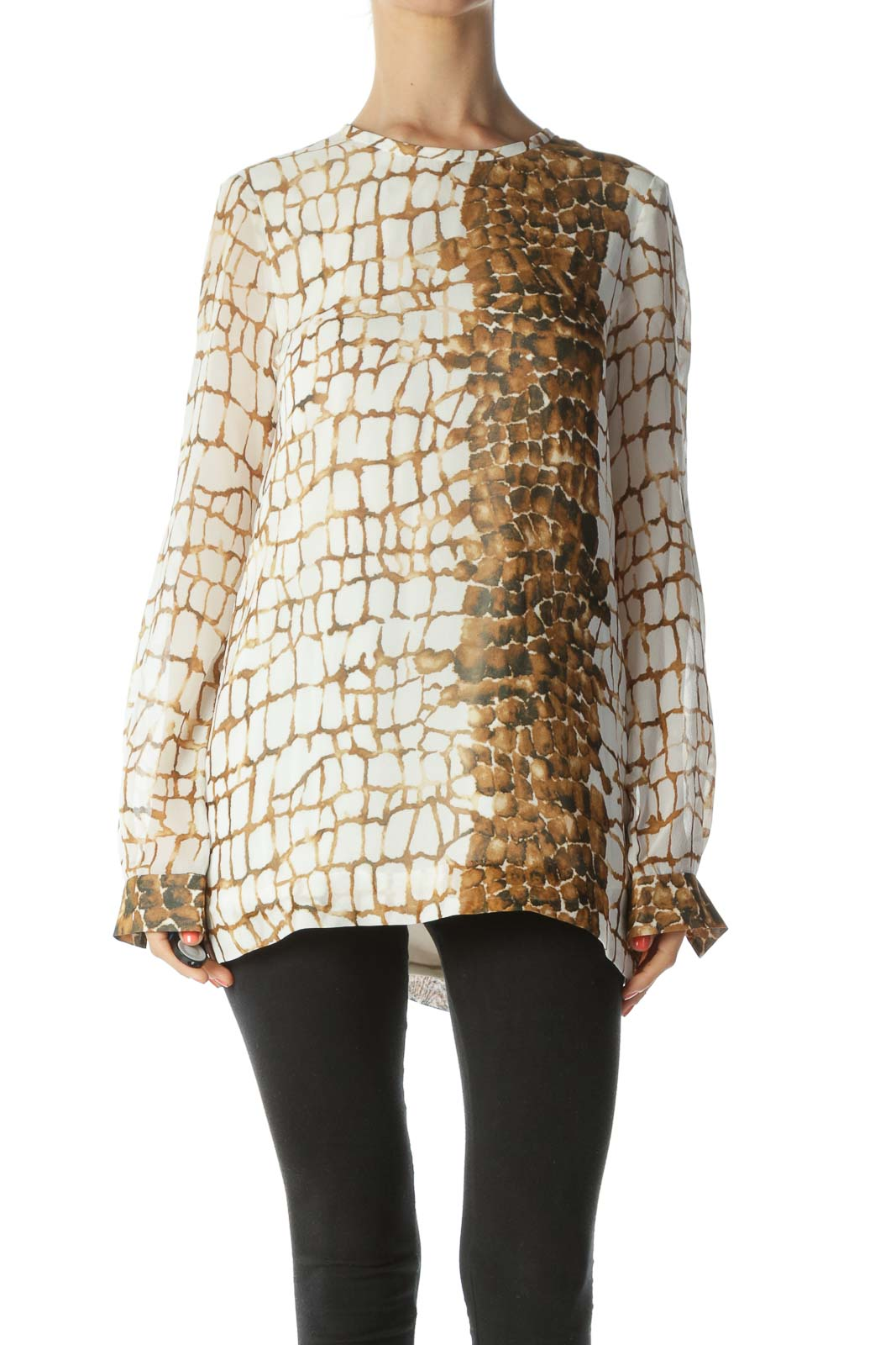 White & Brown Reptilian-Print 100% Silk Long-Sleeve Designer Blouse