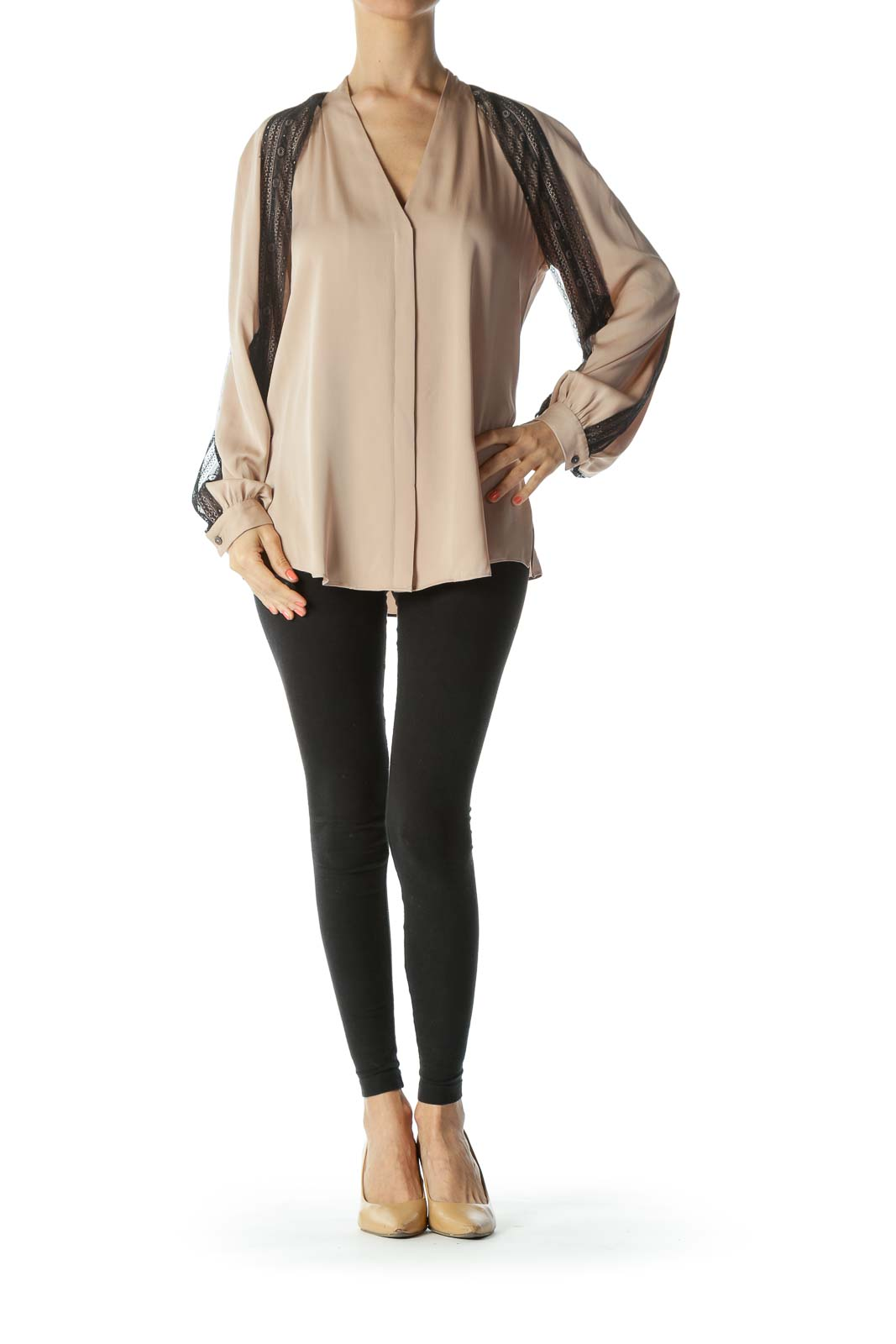 Beige Silk Black-Lace-Sleeved Long-Sleeve Blouse