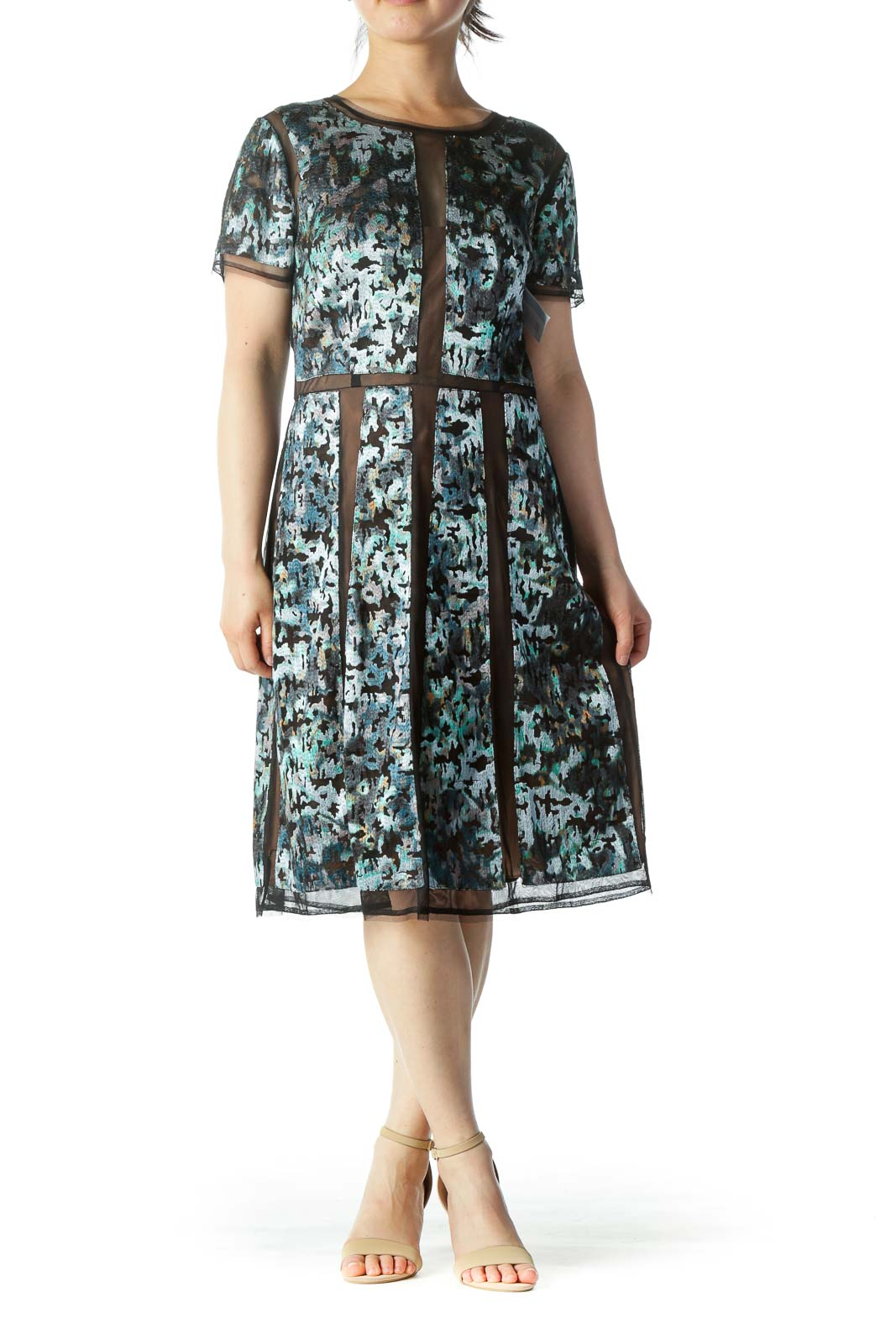 Multicolor Brocade Work Dress