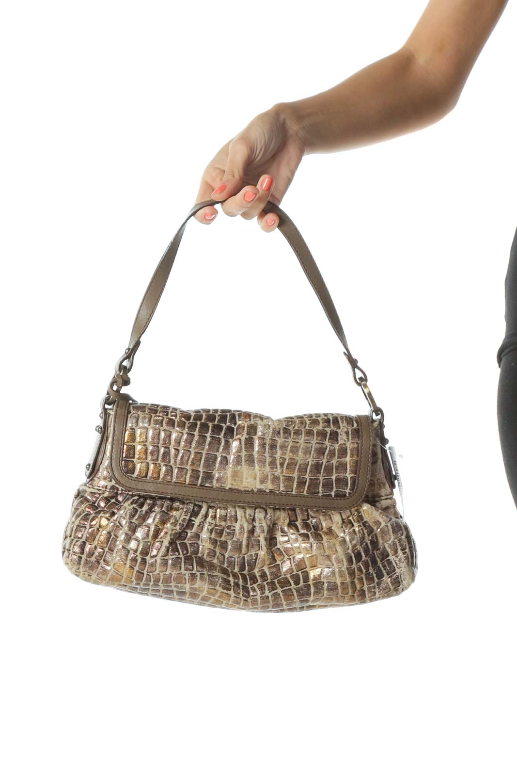 Brown Metallic Designer Shoulder Bag