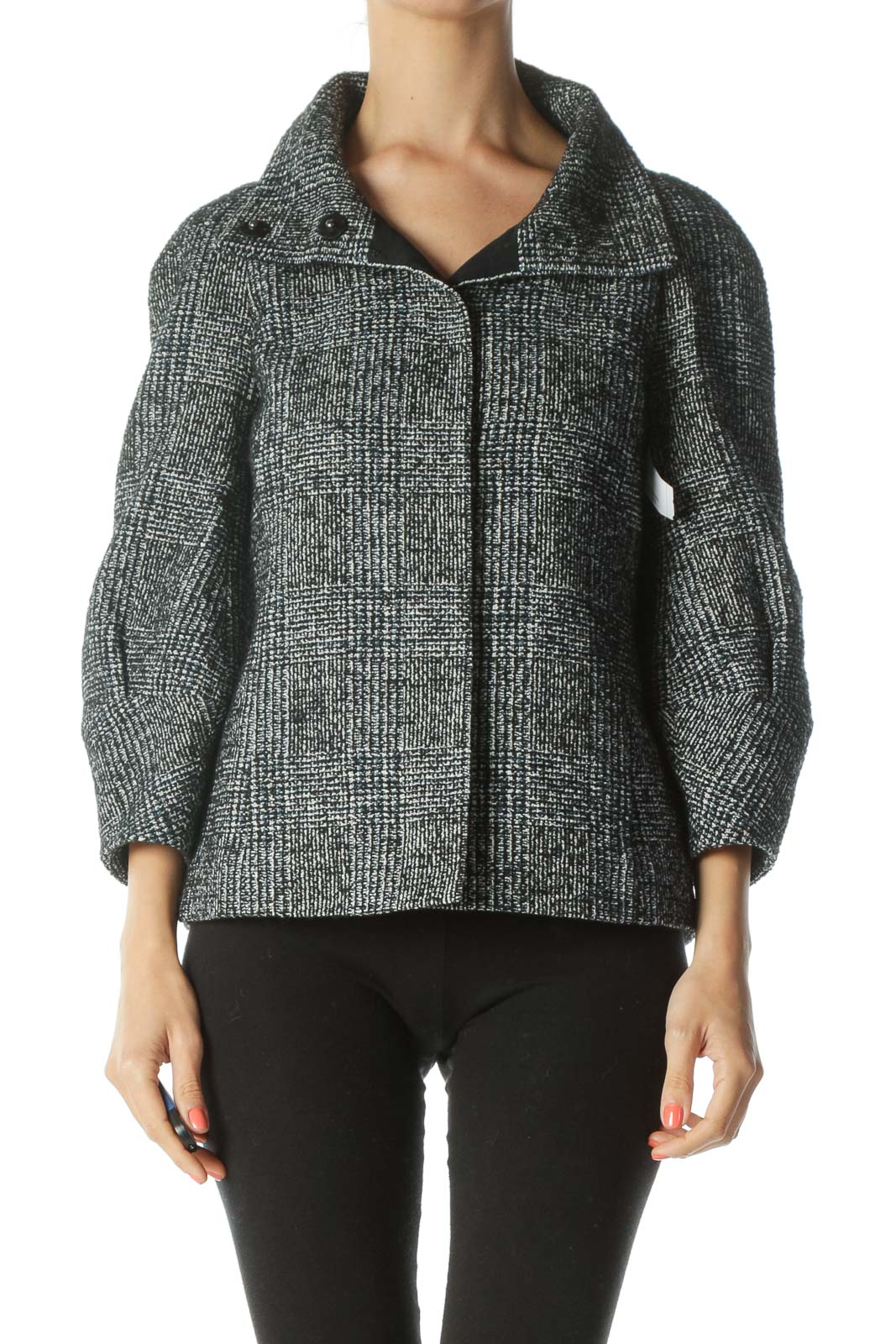 Black/Blue/White Snap Buttons Collared Tweed Blazer