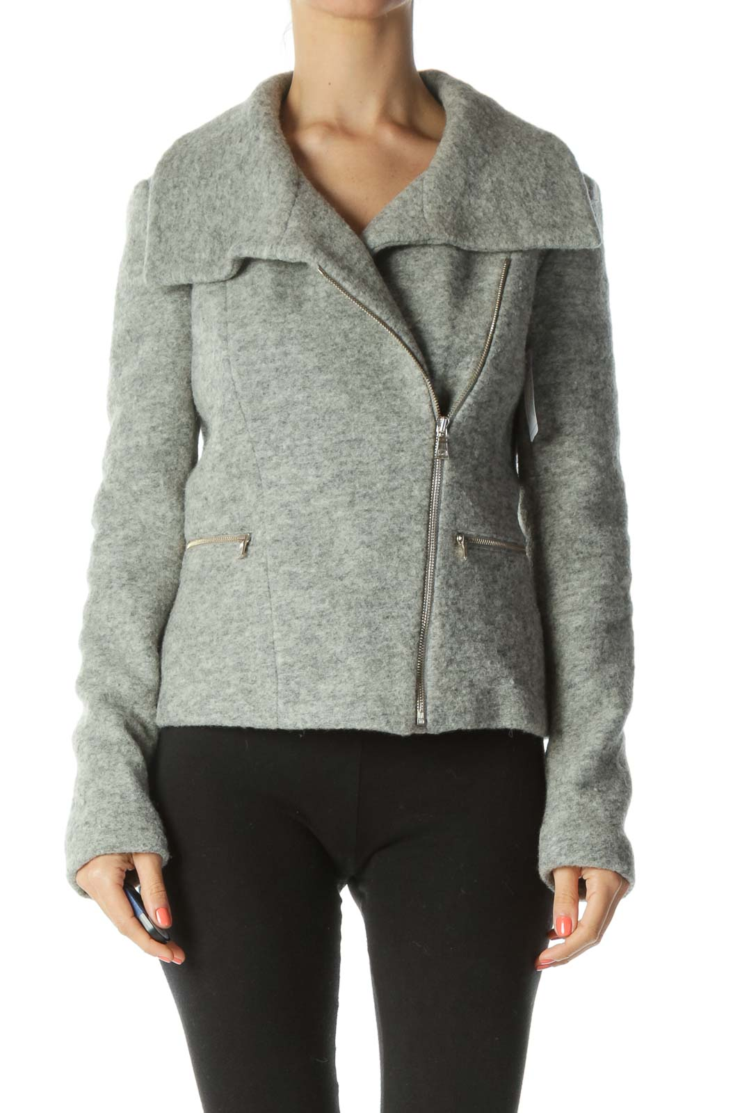 Gray Collared Zippered Tweed Fitted Jacket