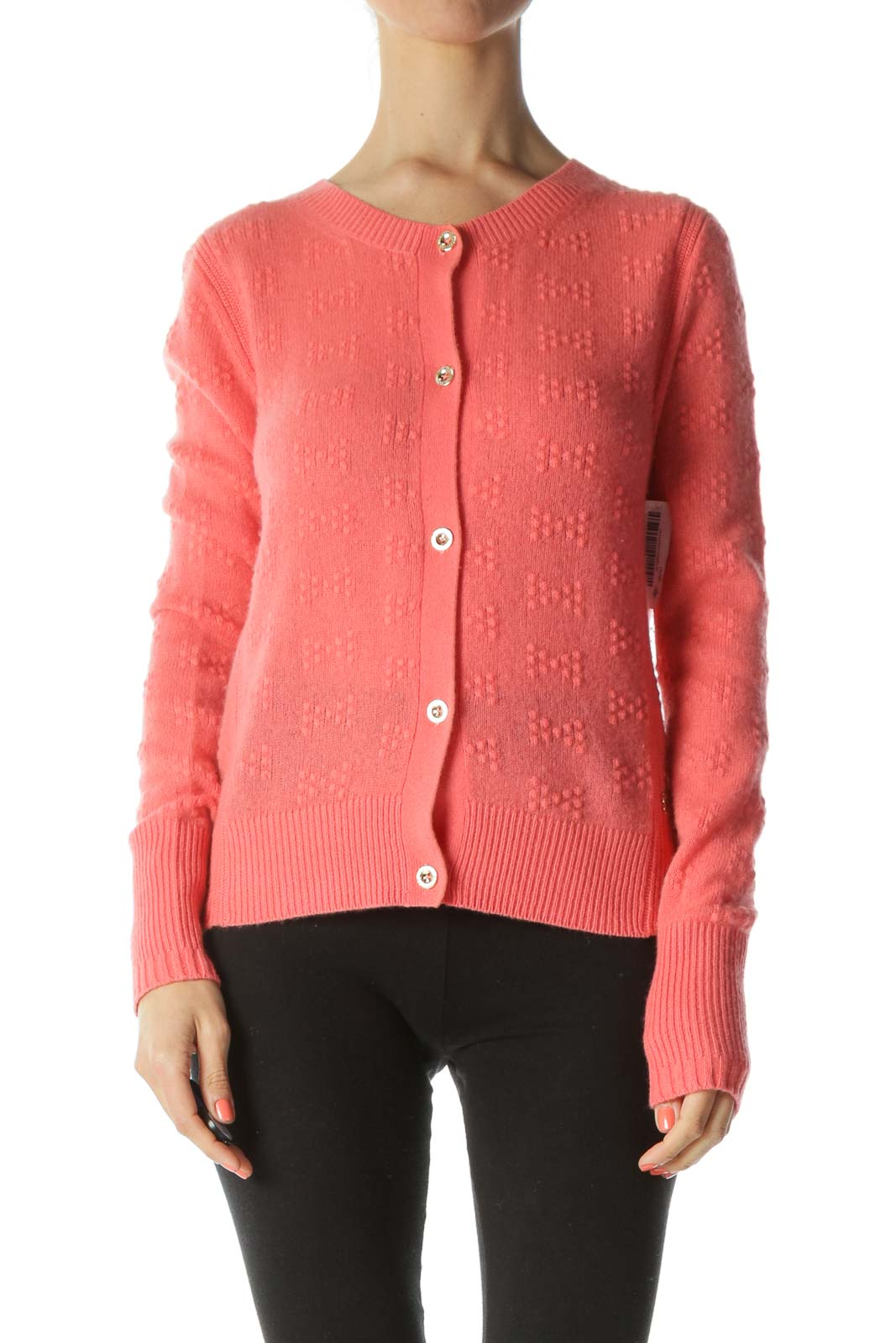 Bright-Orange 100% Cashmere Gold-Buttons Soft Textured-Knit Sweater
