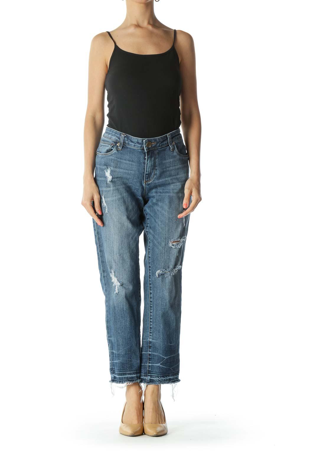Blue Medium-Wash Distressed Cropped Boyfriend Denim Jeans