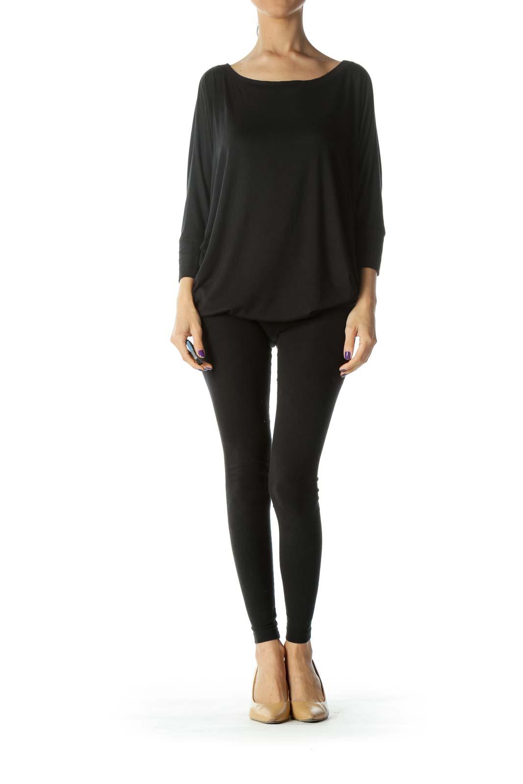 Black Round-Neck Bat-Sleeves Soft Stretch Jersey Top
