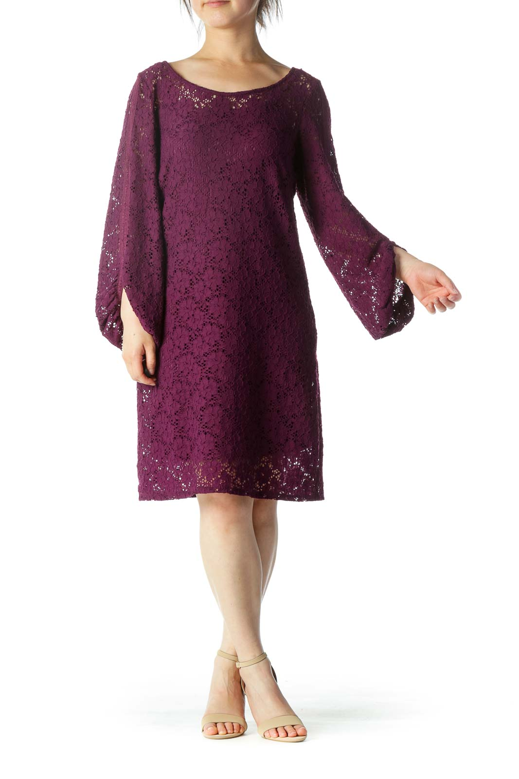 Purple Lace Work Dress