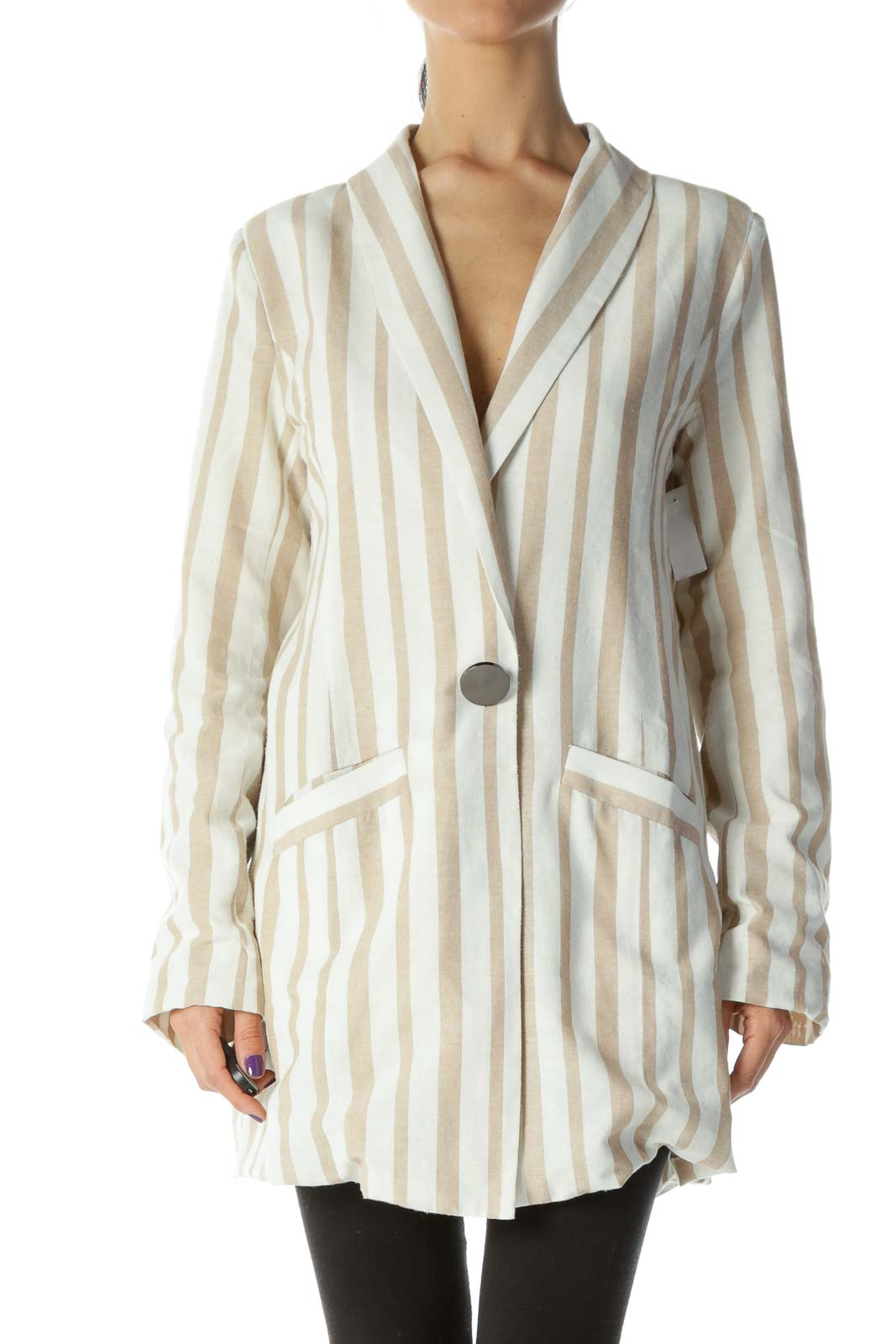 Beige and Cream Striped One Button Blazer